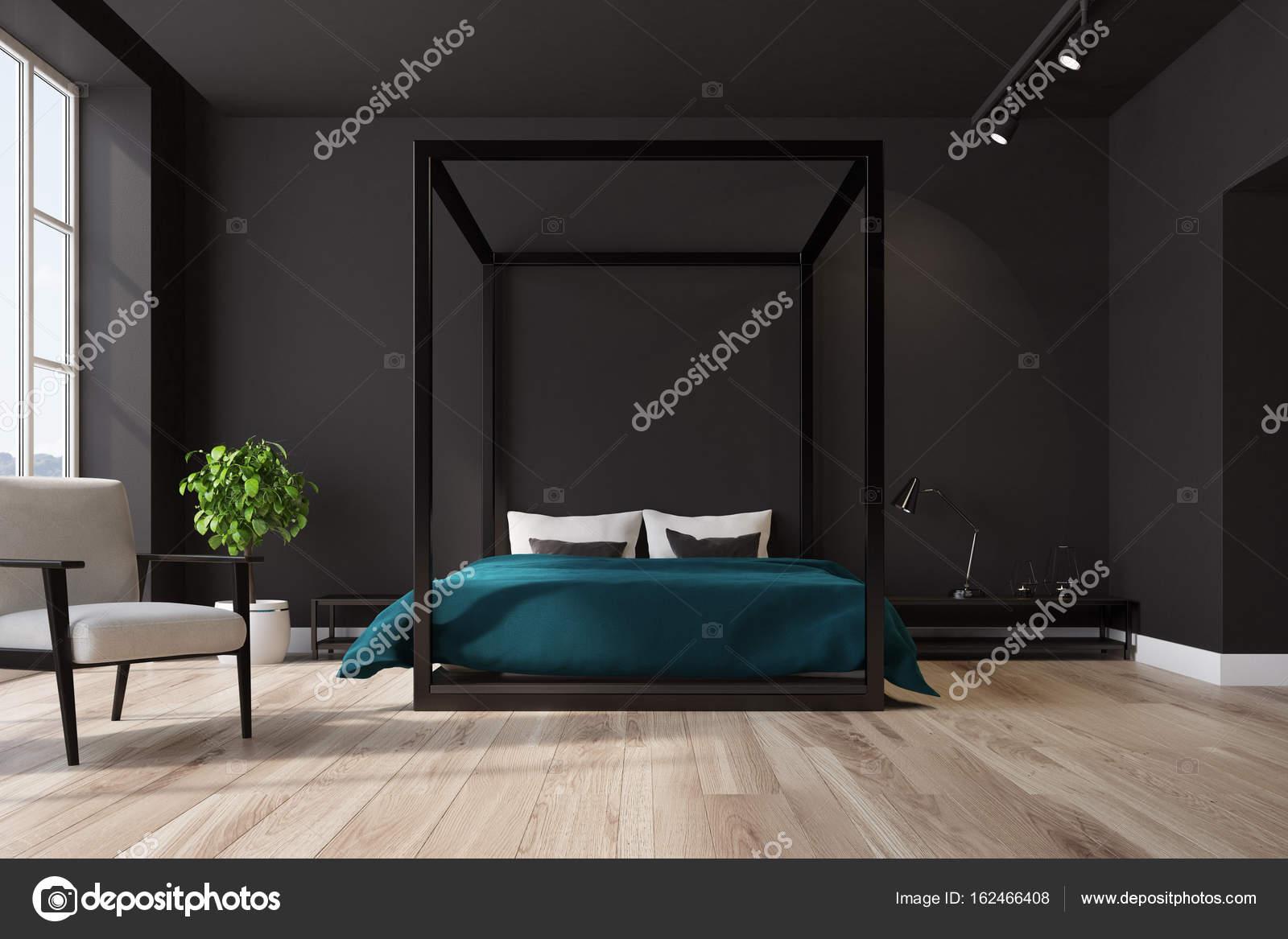 Poltrona interni, camera da letto nera — Foto Stock © denisismagilov ...