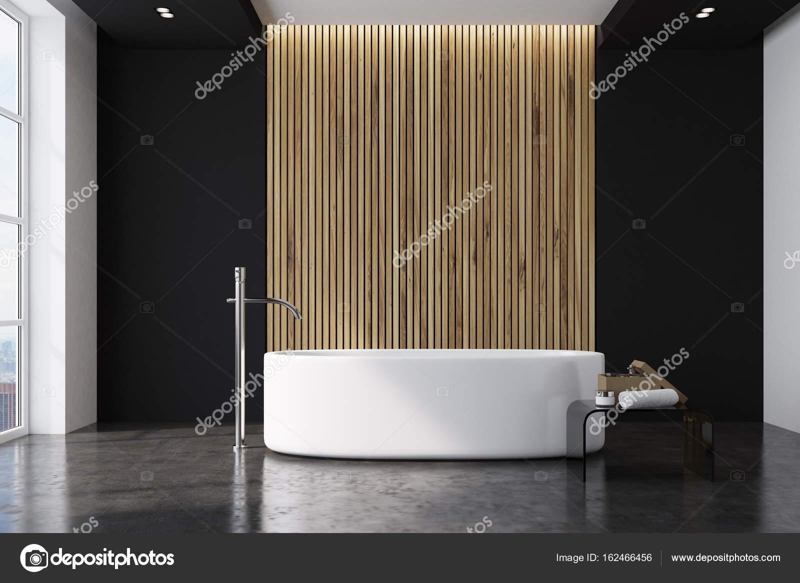 Salle de bain noir et en bois, autour de baignoire ...