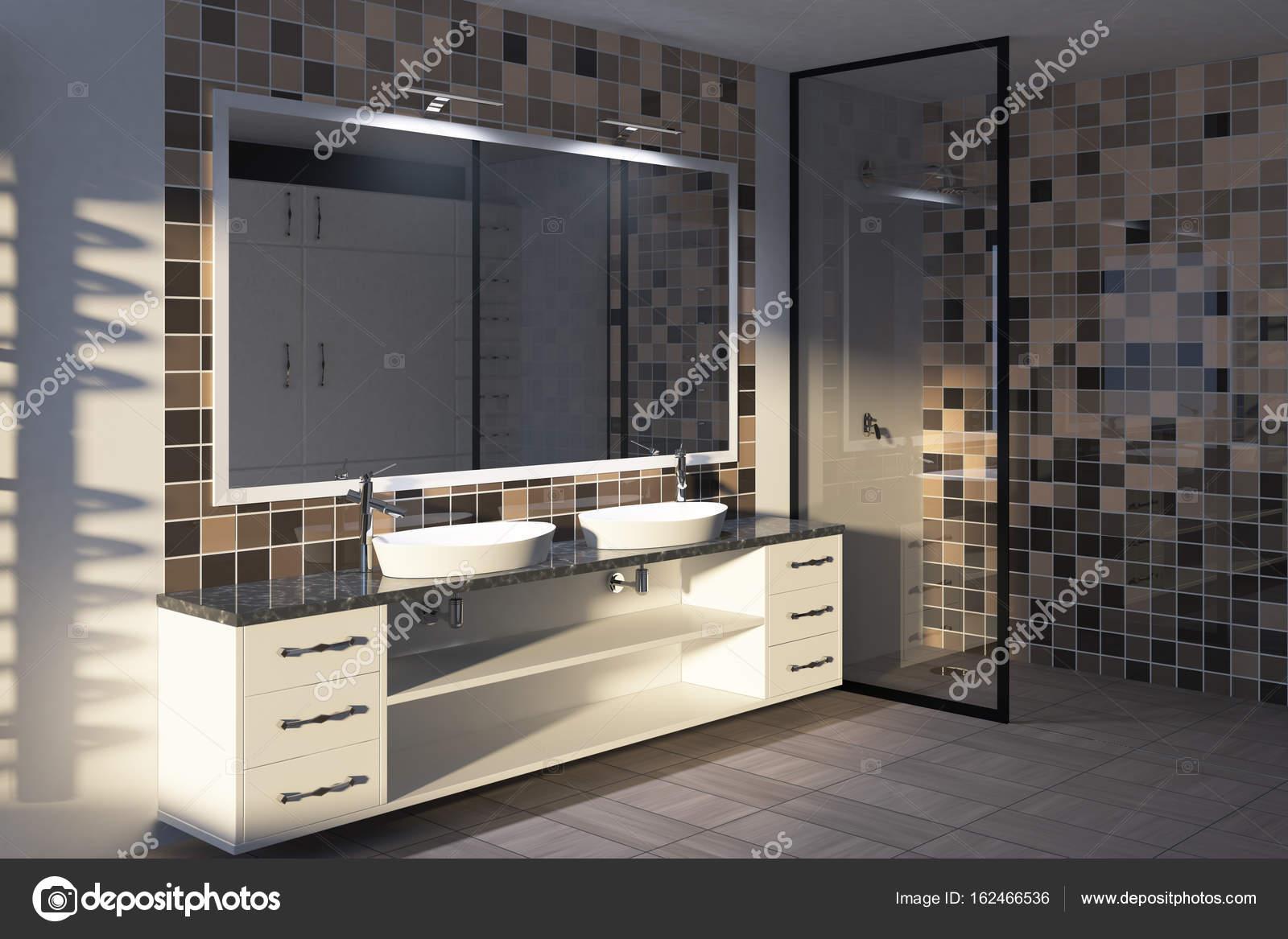 Betegelde beige badkamer, dubbele wastafel toned — Stockfoto ...