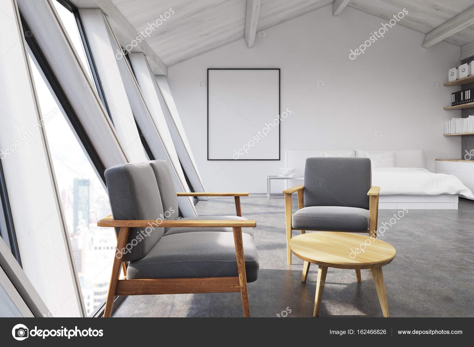 Grijs Wit Slaapkamer : Wit slaapkamer in een zolder poster grijs u2014 stockfoto