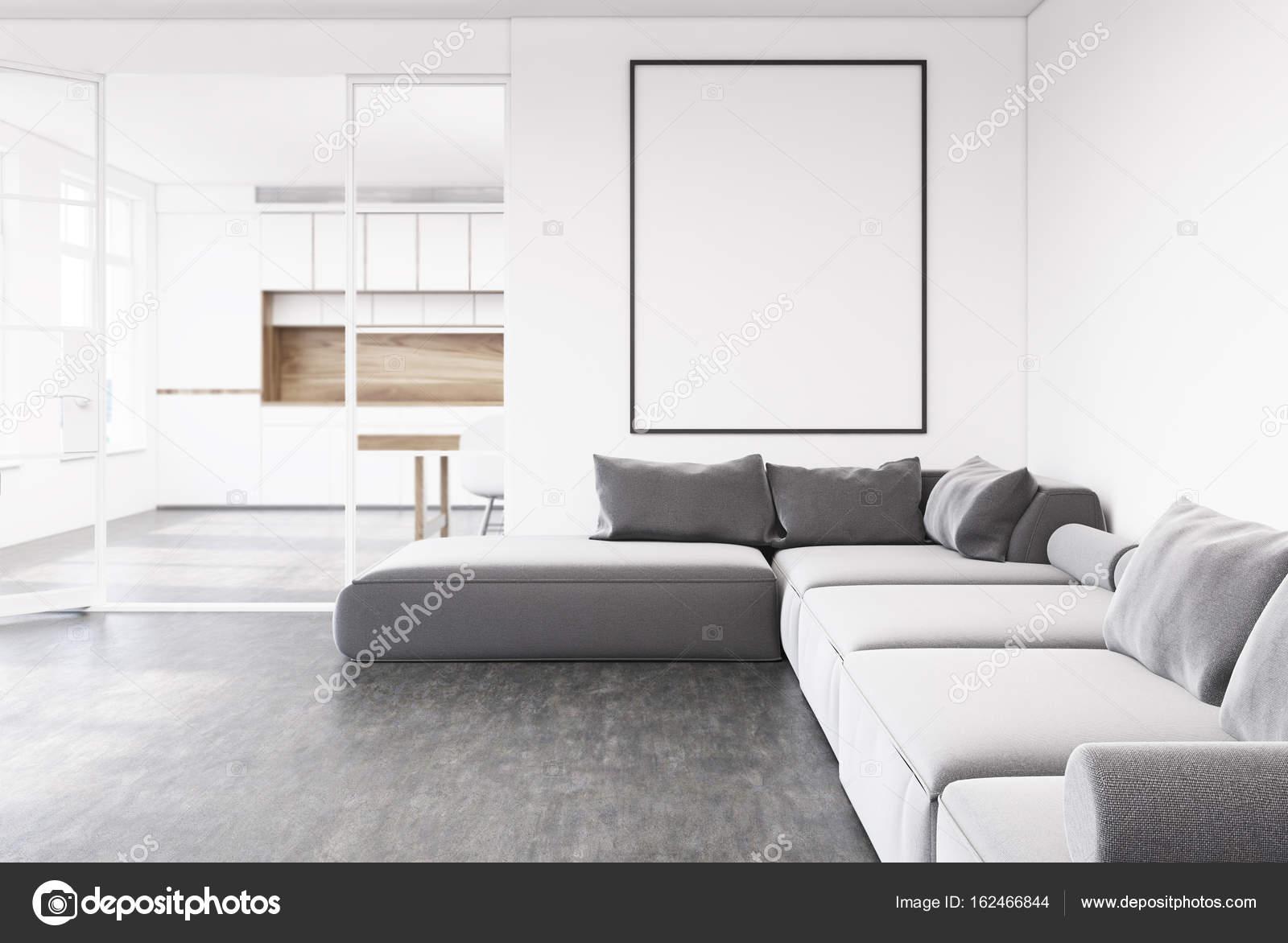 Grijze bank woonkamer, poster, keuken — Stockfoto © denisismagilov ...
