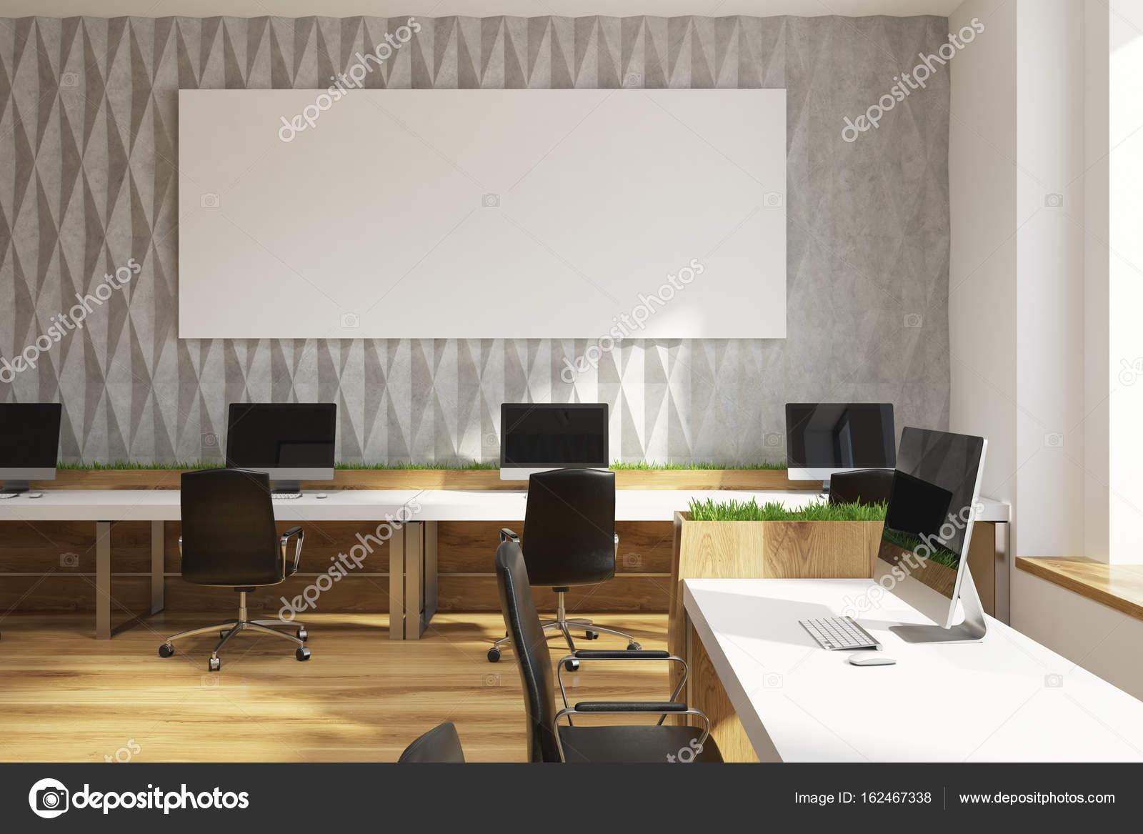 Bezaubernd Muster Wand Beste Wahl Graue Diamant Bürozimmer Mit Reihen Puter-tische Mit