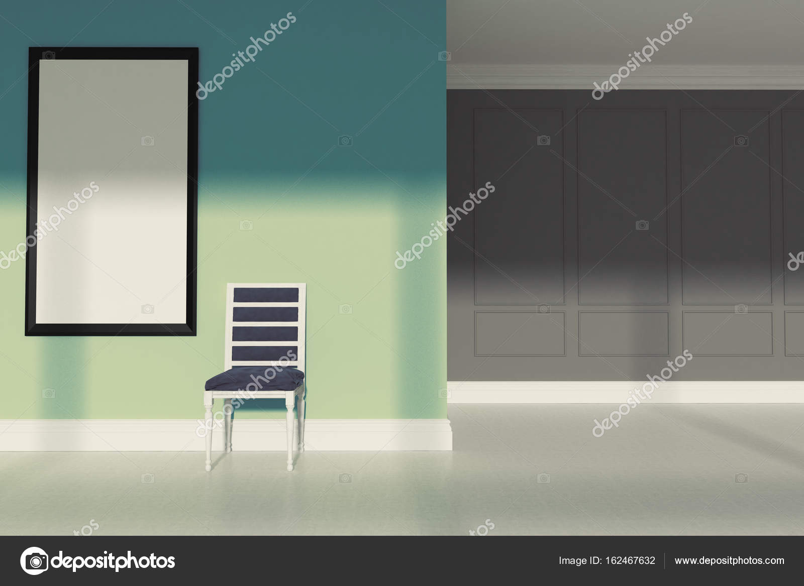 Green Minimalist Living Room, Chair U2014 Stock Photo