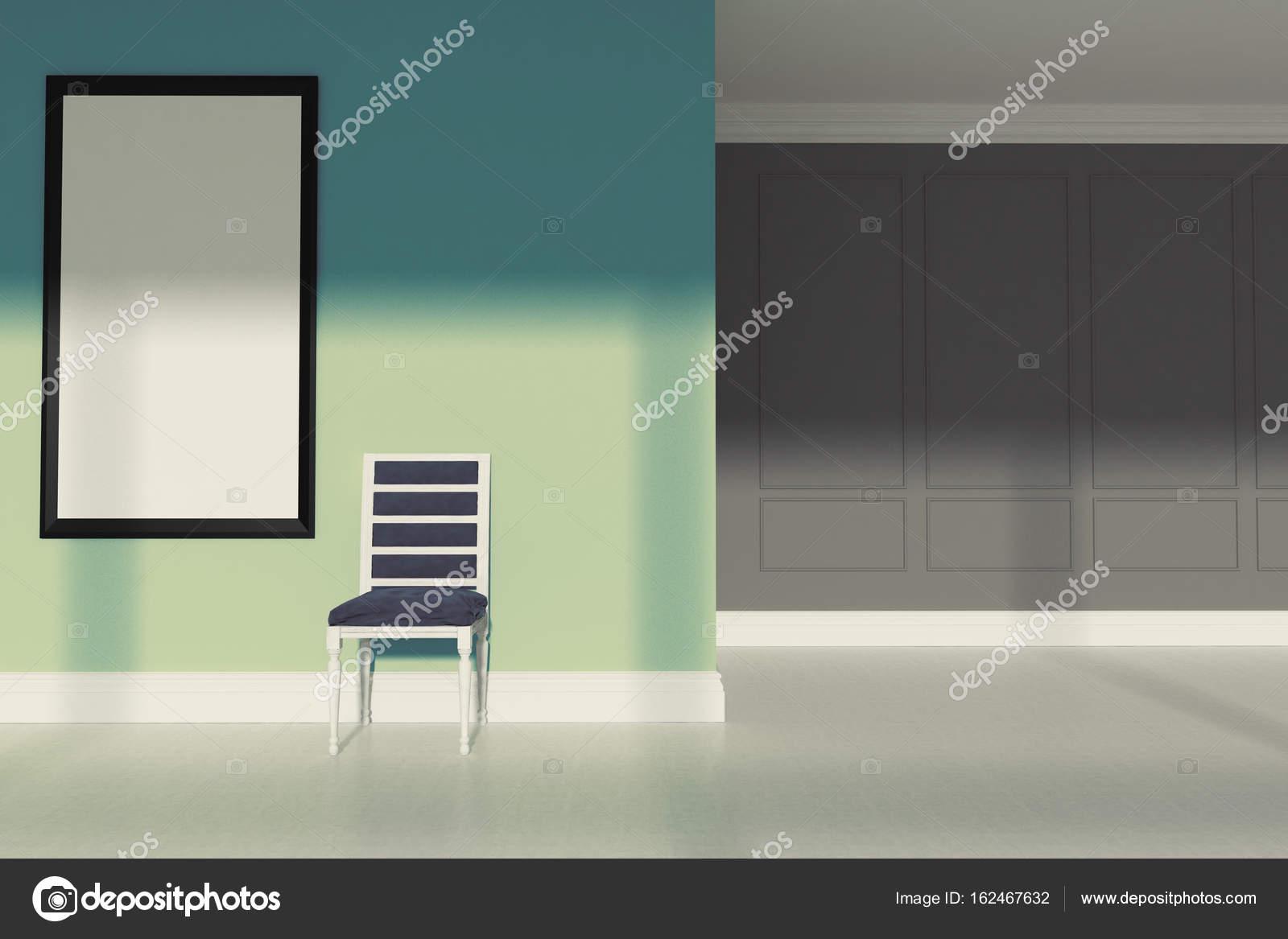 Green Minimalist Living Room, Chair U2014 Stock Photo