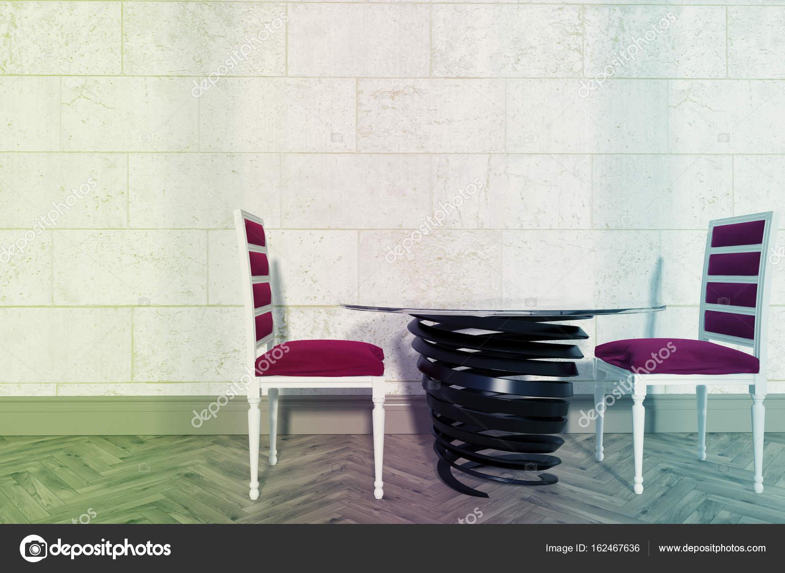 Rossi sedie soggiorno, primavera come tabella — Foto Stock ...