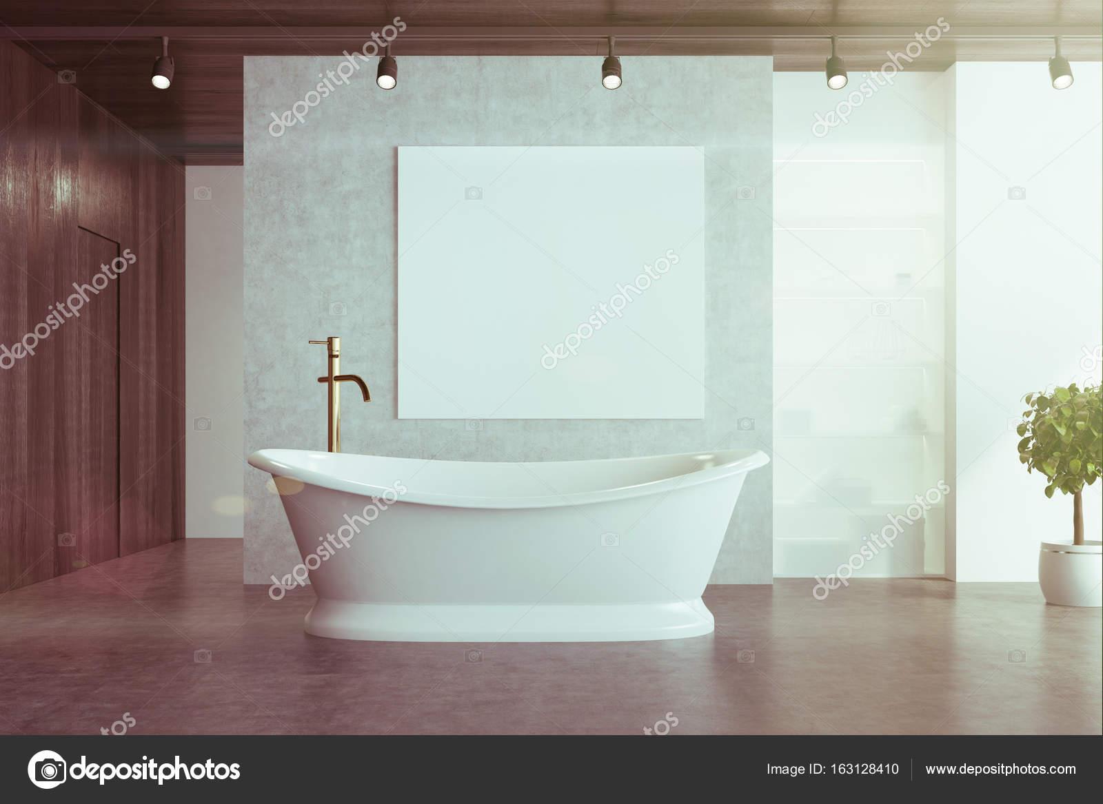 Concrete bathroom, elegant tub and poster toned — Stock Photo ...