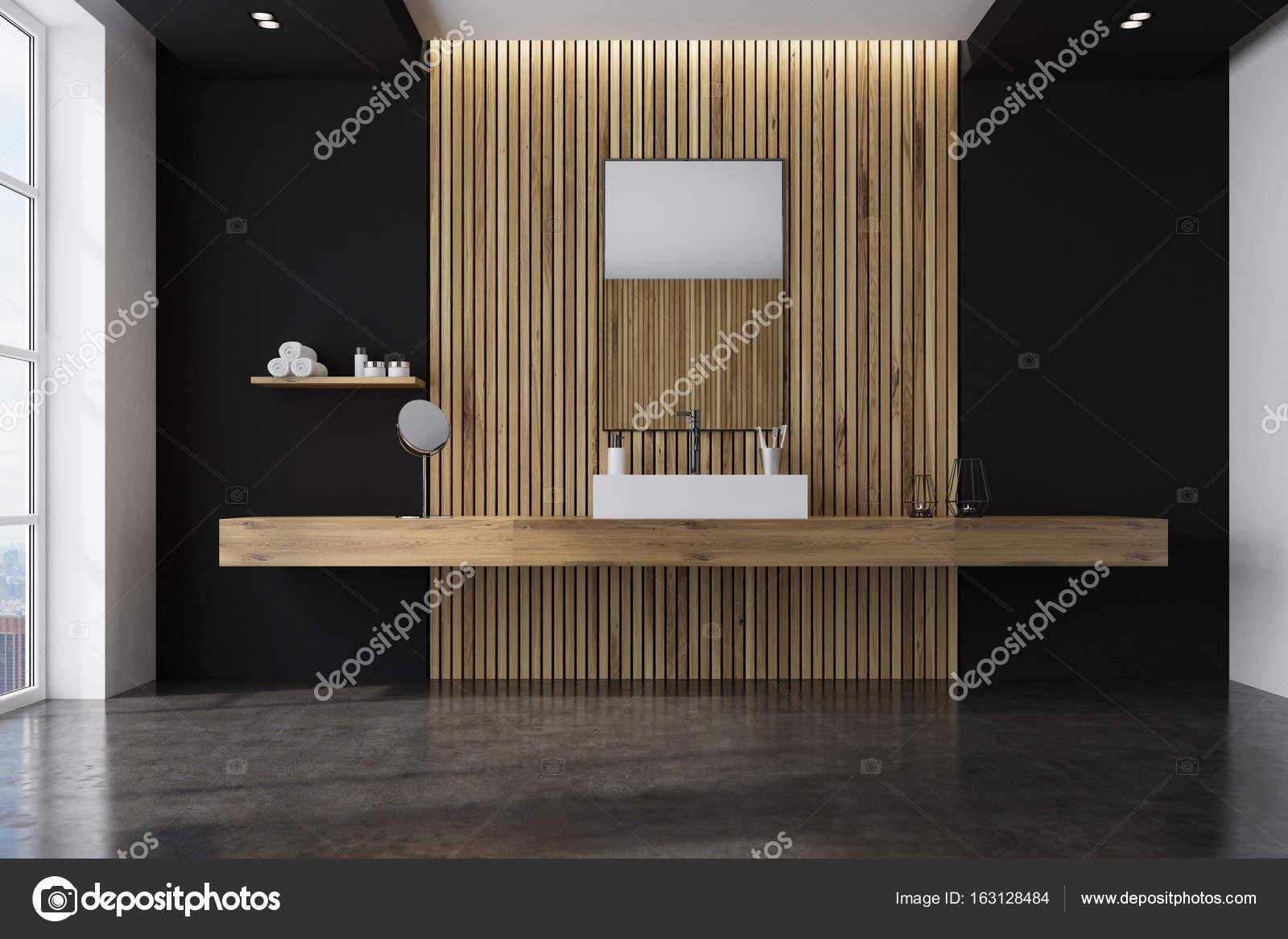 Salle de bain noir et en bois, évier sur plateau ...