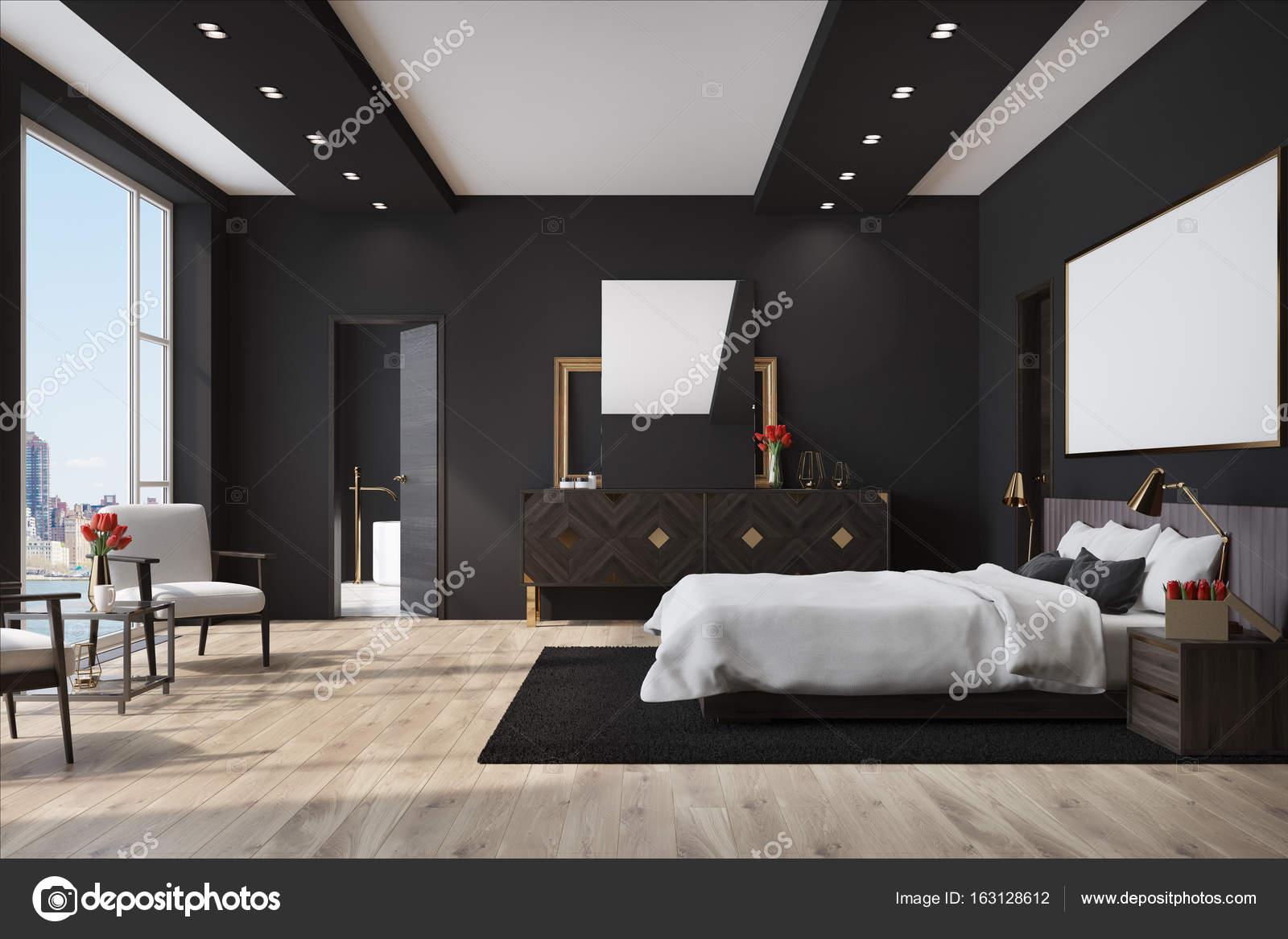 Zwarte Slaapkamer Kast.Zwarte Slaapkamer Kast Met Een Poster Stockfoto C Denisismagilov