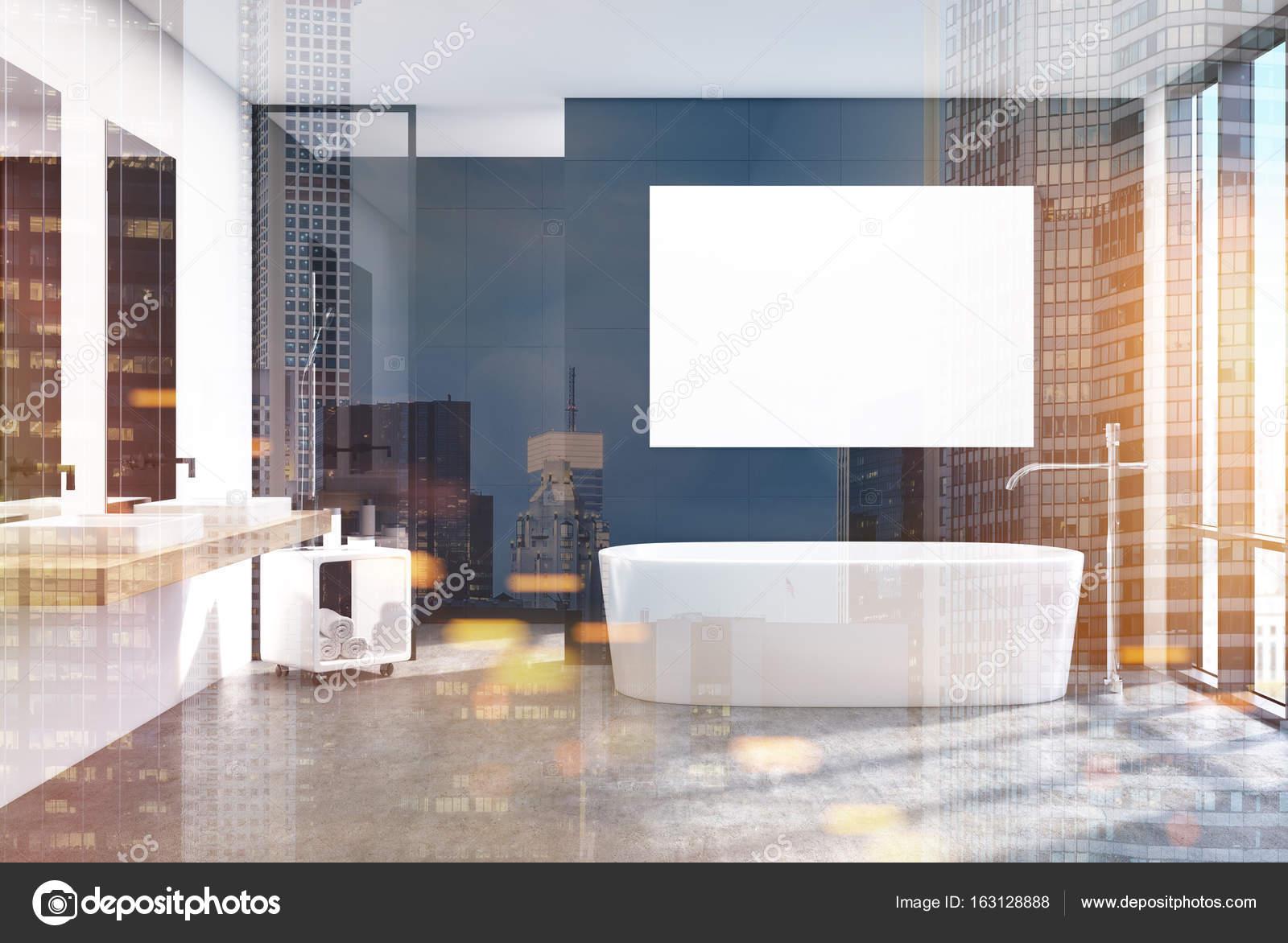 Moderne badkamer interieur poster nacht stad u2014 stockfoto