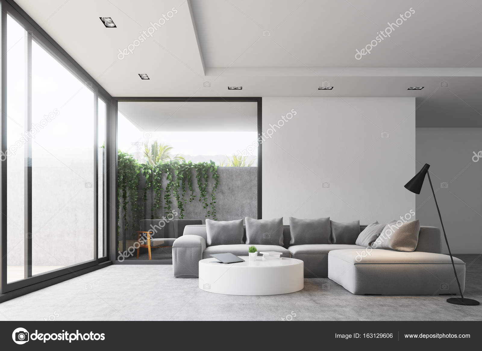 Living room round table, sofa, front — Stock Photo © denisismagilov ...