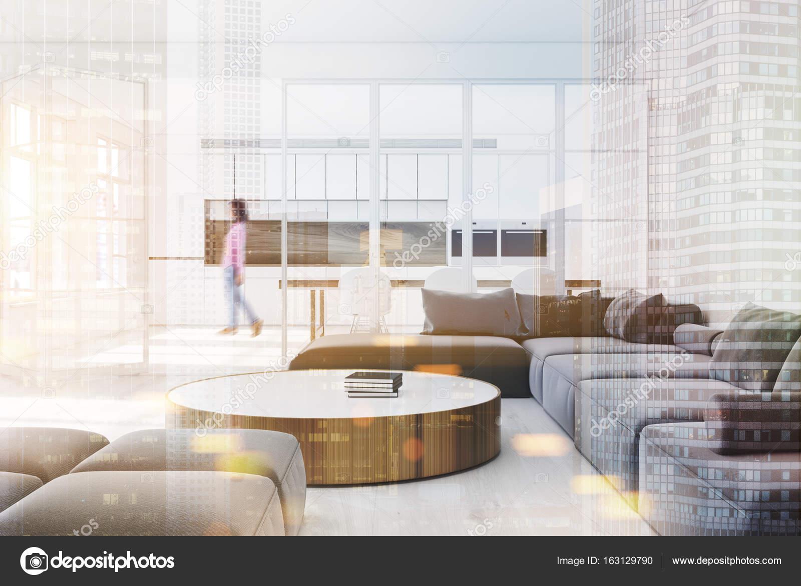 canap gris salon intrieur avec une table basse ronde verre et blanc des murs et une cuisine dans le fond femme rendu 3d simul jusquaux tons dimage - Salon Canape Gris