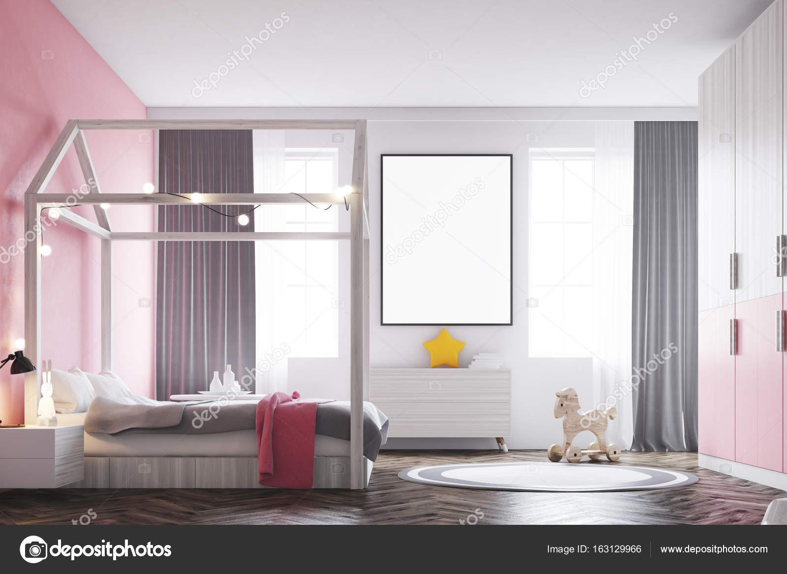 Poster interni, camera da letto di ragazza s, lato — Foto Stock ...