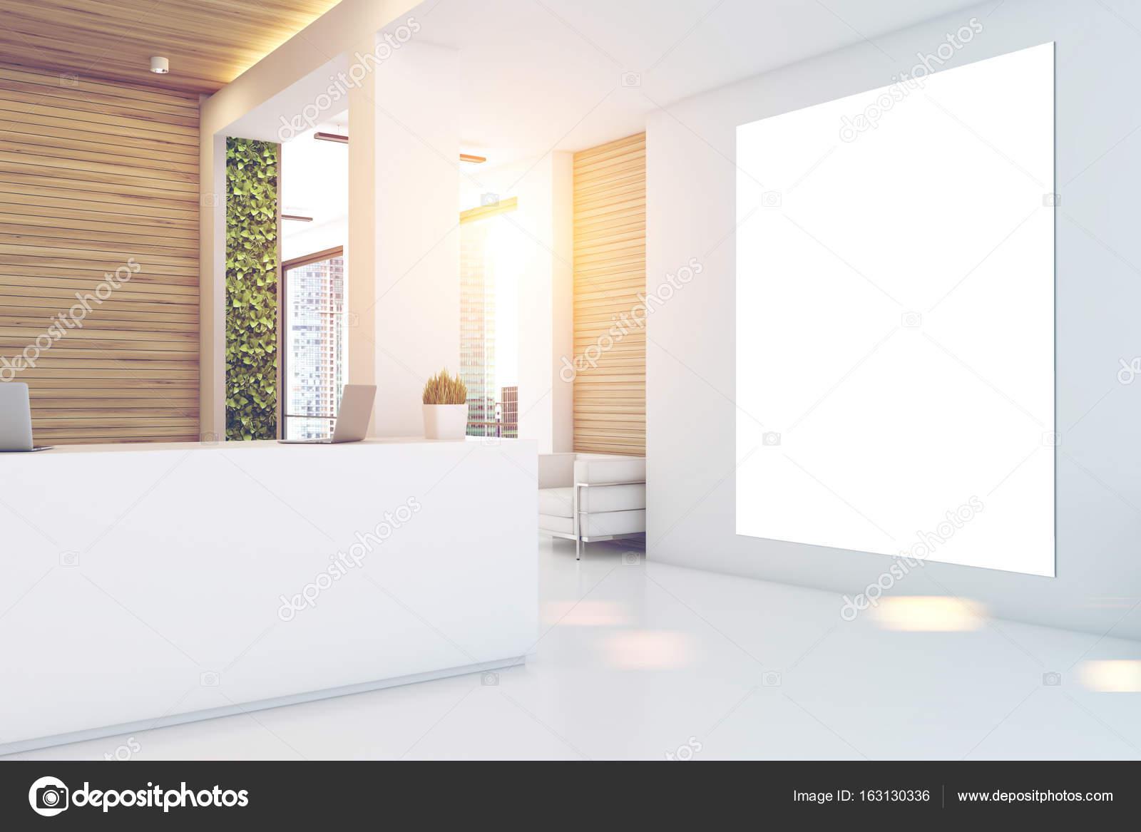 Bureau en bois gris réception affiche u photographie