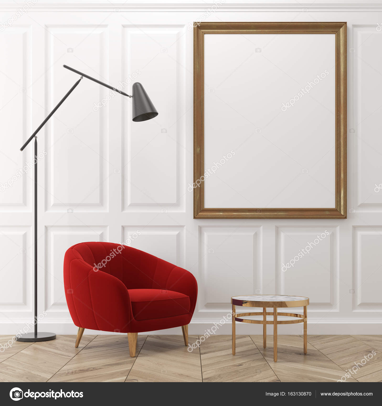 White living room, red armchair, poster — Stock Photo ...