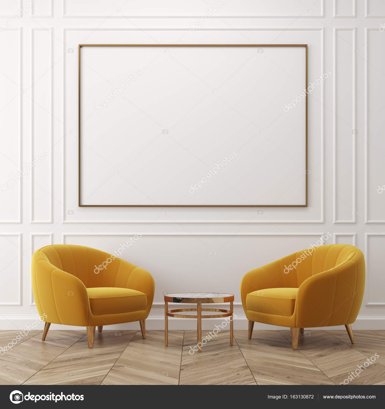 White living room, yellow armchairs, poster — Stock Photo ...