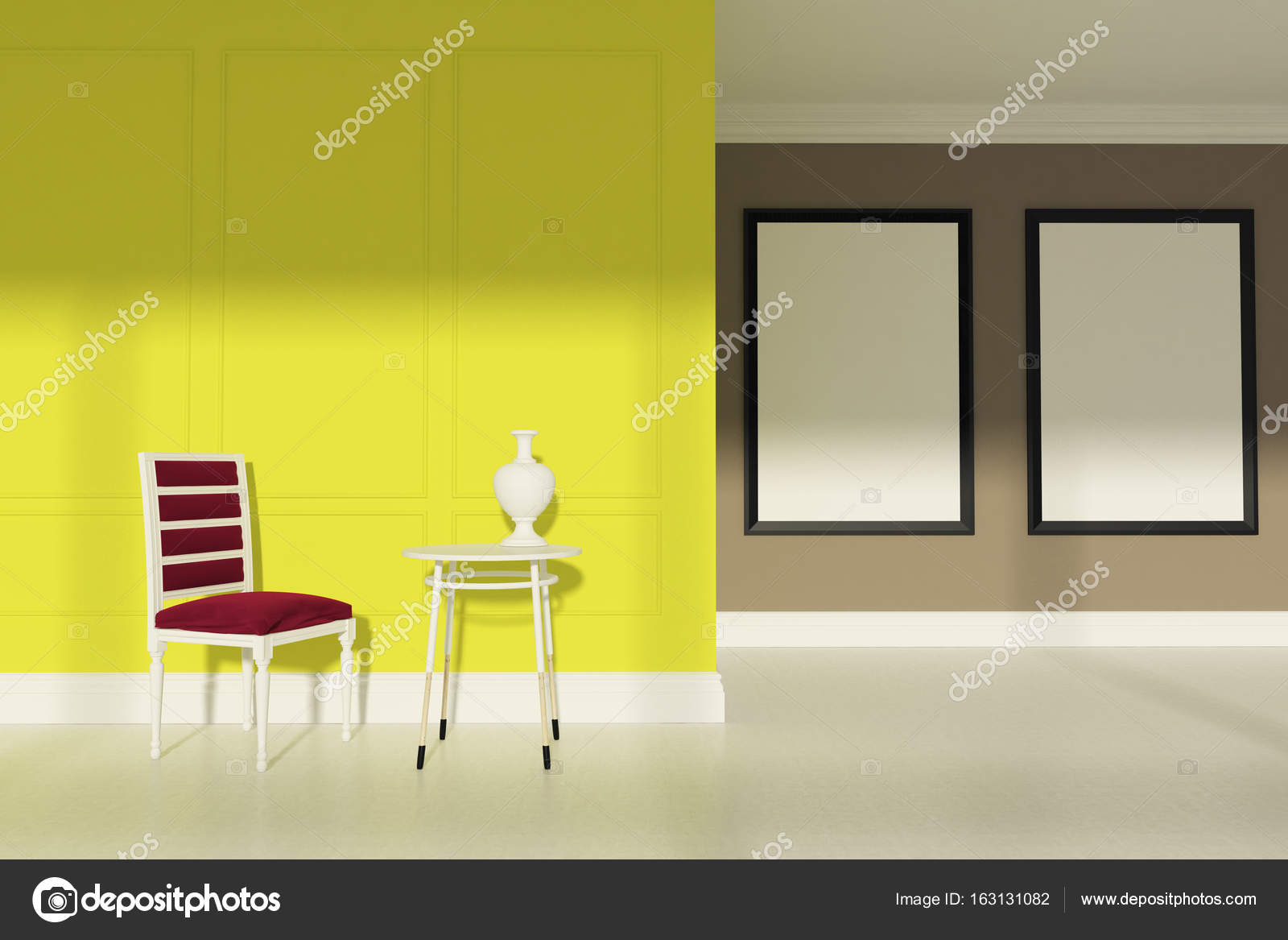 Red chair living room, two posters, yellow — Stock Photo ...
