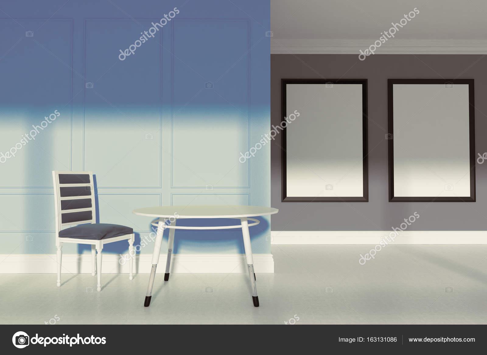 Esszimmer Mit Grauen Und Blauen Wänden, Einem Betonboden, Ein Grauer Stuhl  Und Ein Kleiner Runder Tisch. Zwei Vertikale Gerahmte Poster.