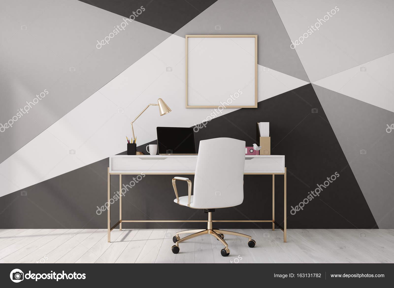 Bureau à la maison noir et blanc poster u2014 photographie