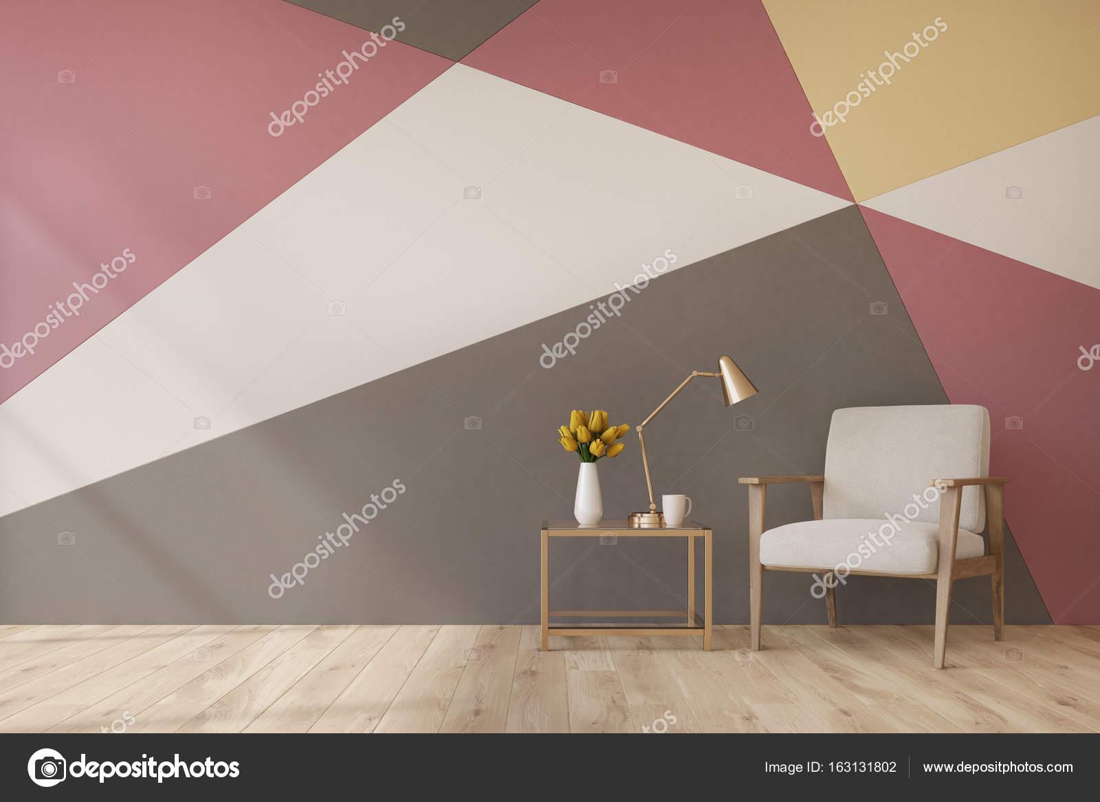 Verführerisch Muster Wand Das Beste Von Wohnzimmer Innenraum Mit Eine Weiße, Rote, Gelbe