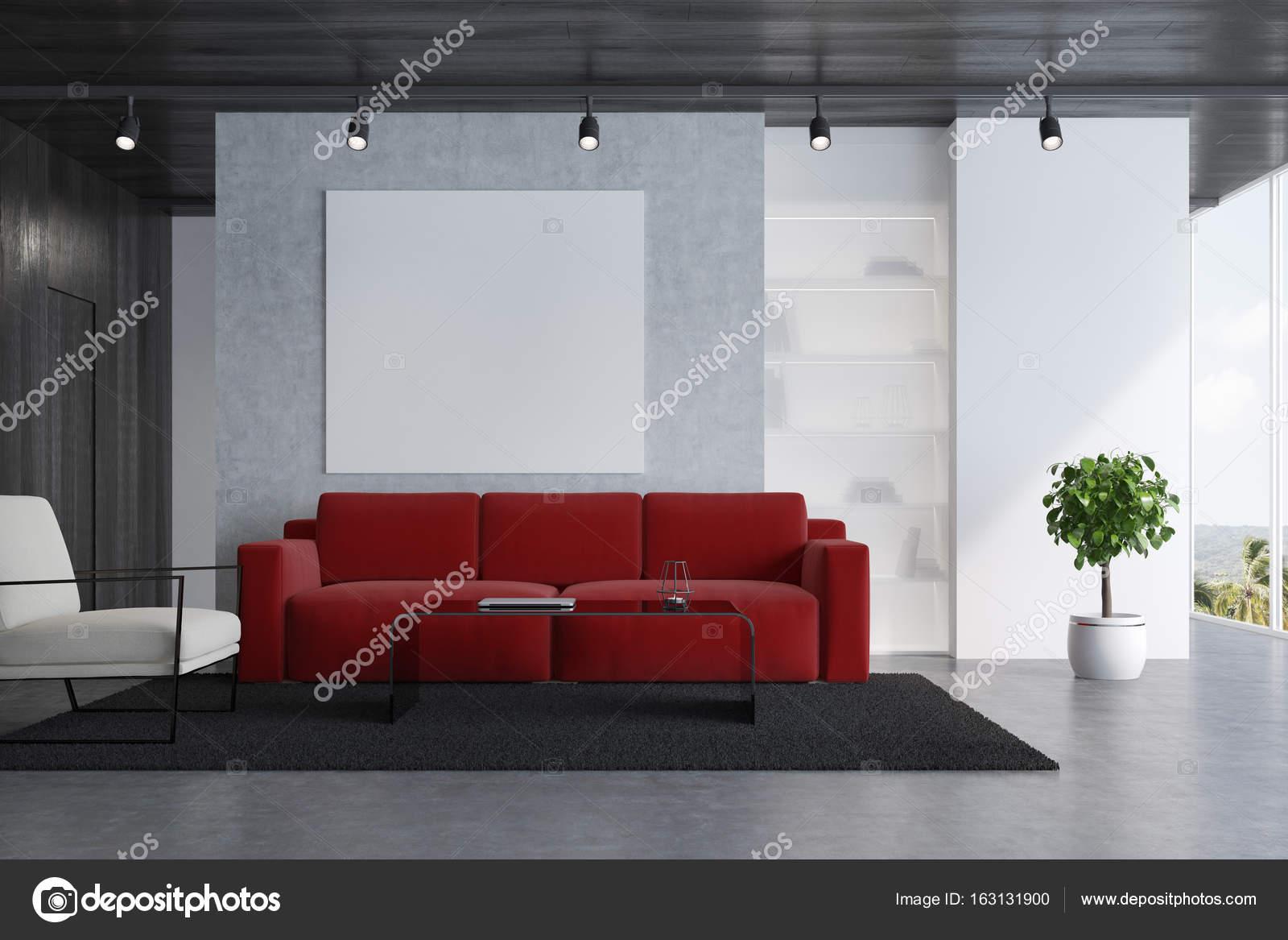 Béton Salon Intérieur Avec Un Canapé Rouge, Un Fauteuil Blanc, Une Affiche  De Carrés, Une Table Basse Moderne Et Un Tapis. Rendu 3D Maquette U2014 Image  De ...