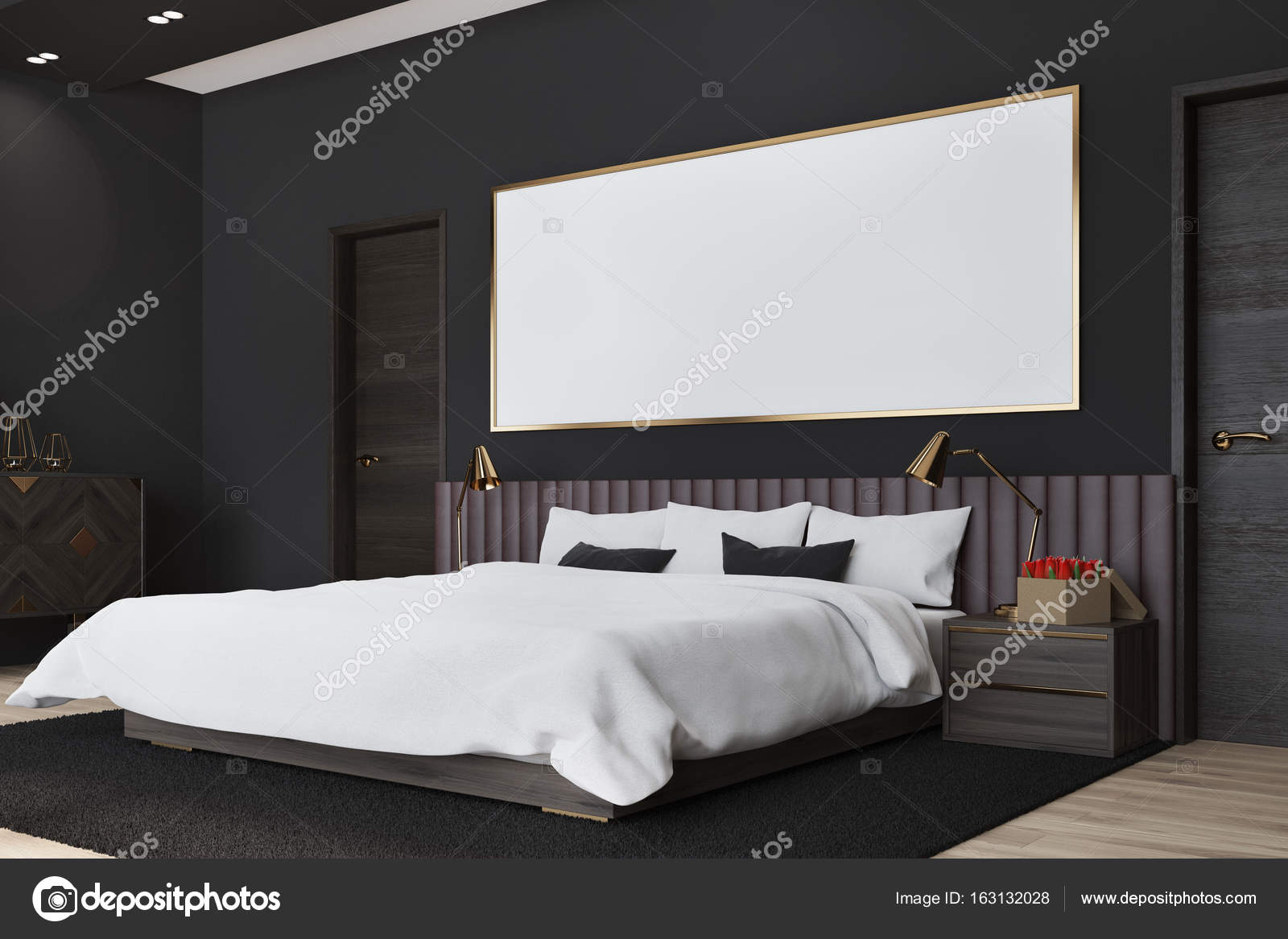 Zwarte slaapkamer met een poster, zijaanzicht — Stockfoto ...