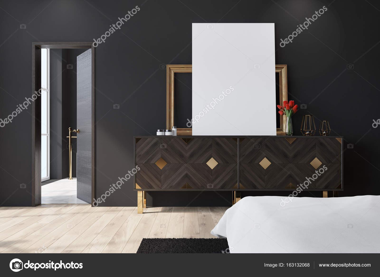 Zwarte Slaapkamer Kast.Zwarte Slaapkamer Met Een Kast Poster Stockfoto C Denisismagilov