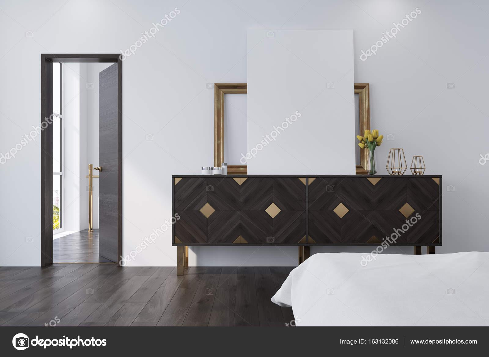 Wit slaapkamer met een kast, poster — Stockfoto © denisismagilov ...