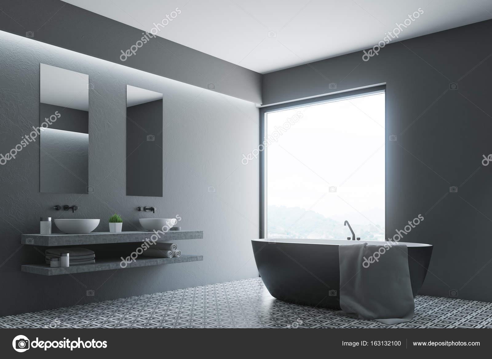 Bagno grigio rotonda vasca angolo poster foto stock - Vasca da bagno grigia ...