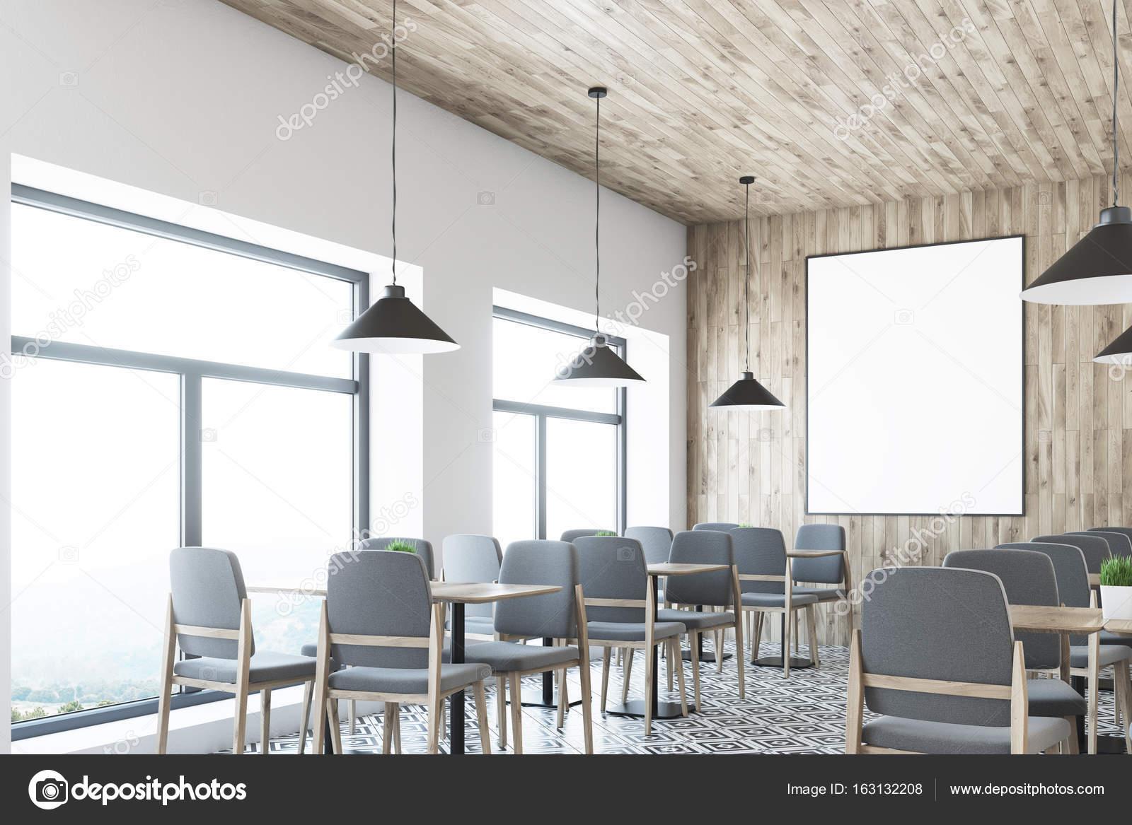 Soffitti In Legno Bianco : Caffè bianco soffitto in legno poster angolo u foto stock