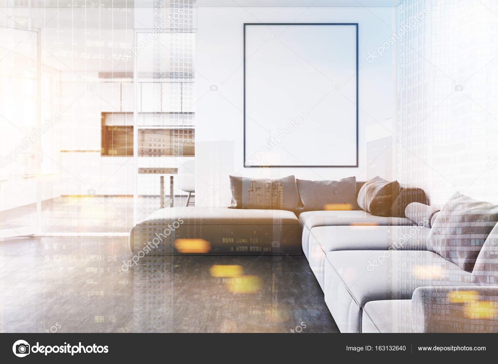 intrieur blanc salle de sjour avec un canap gris une affiche verticale encadre et une cuisine dans le fond maquettes 3d rendu image tonique double - Salon Canape Gris