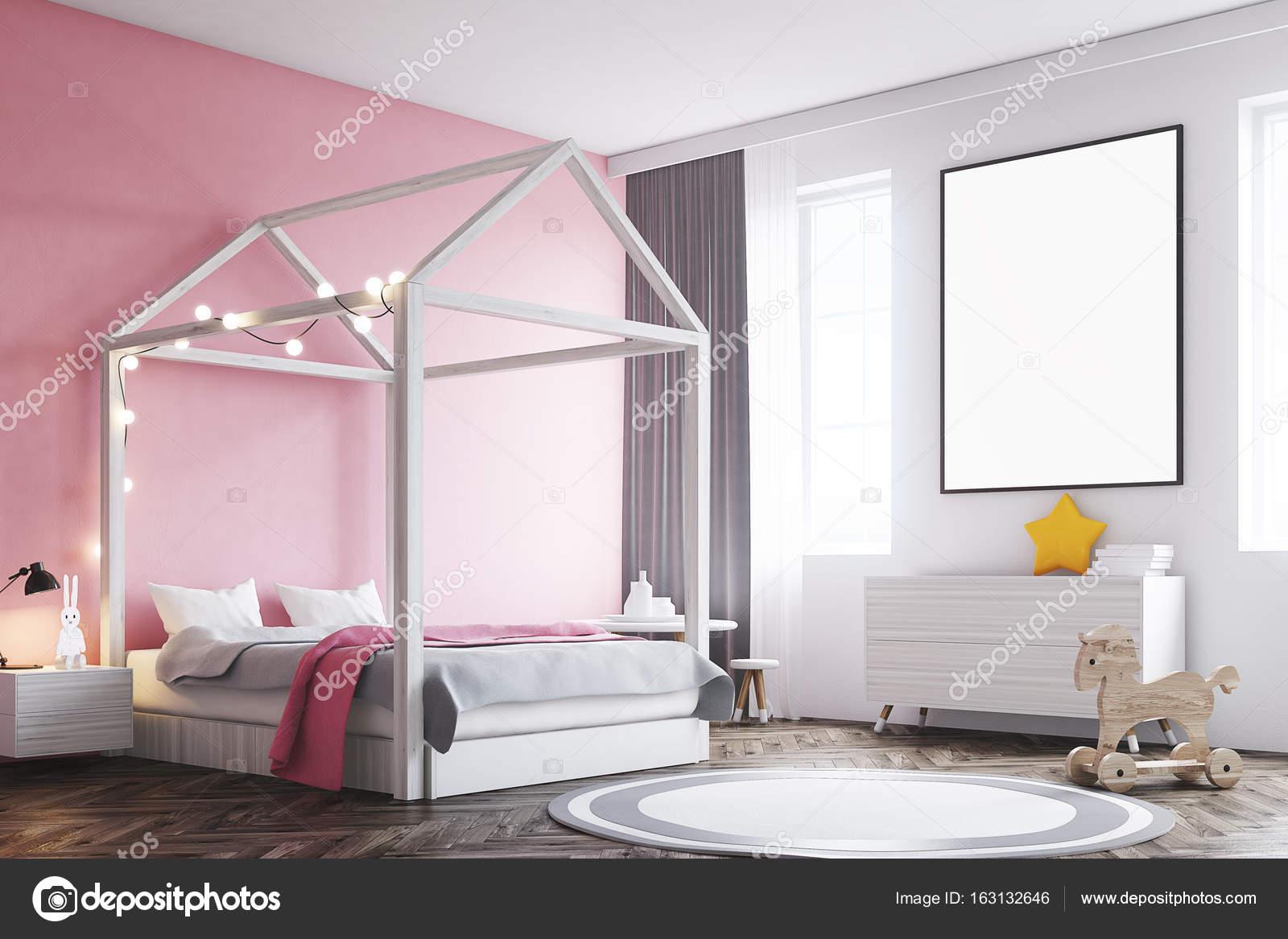 Meisje s slaapkamer interieur poster hoek u stockfoto