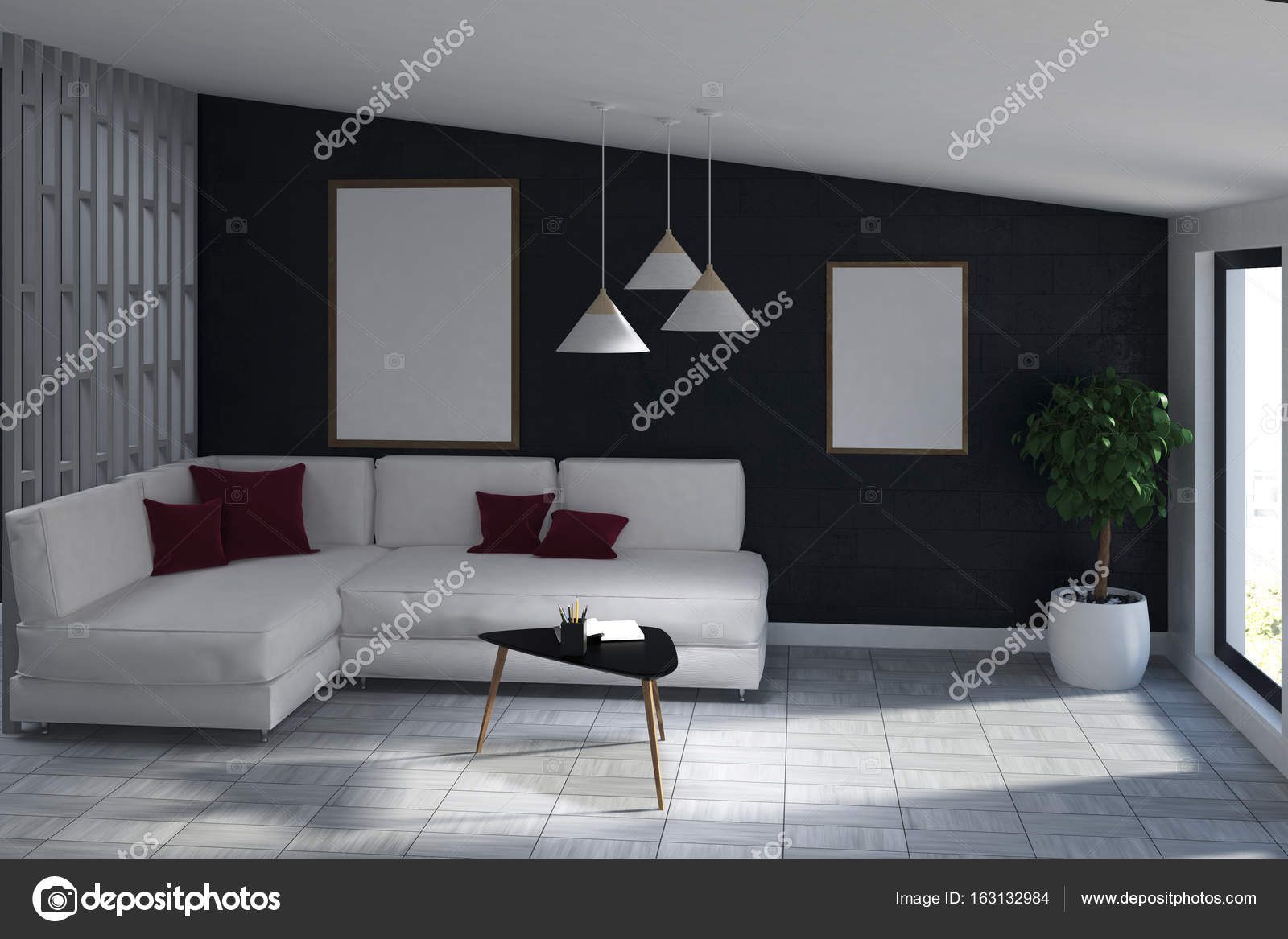 Witte Bank woonkamer met twee posters, boom — Stockfoto ...