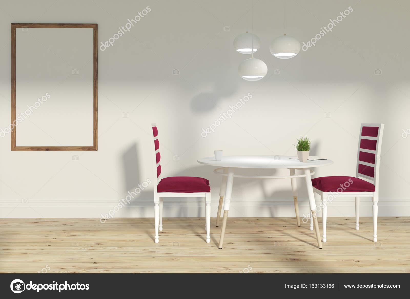 Rote Stühle Wohnzimmer, poster — Stockfoto © denisismagilov #163133166