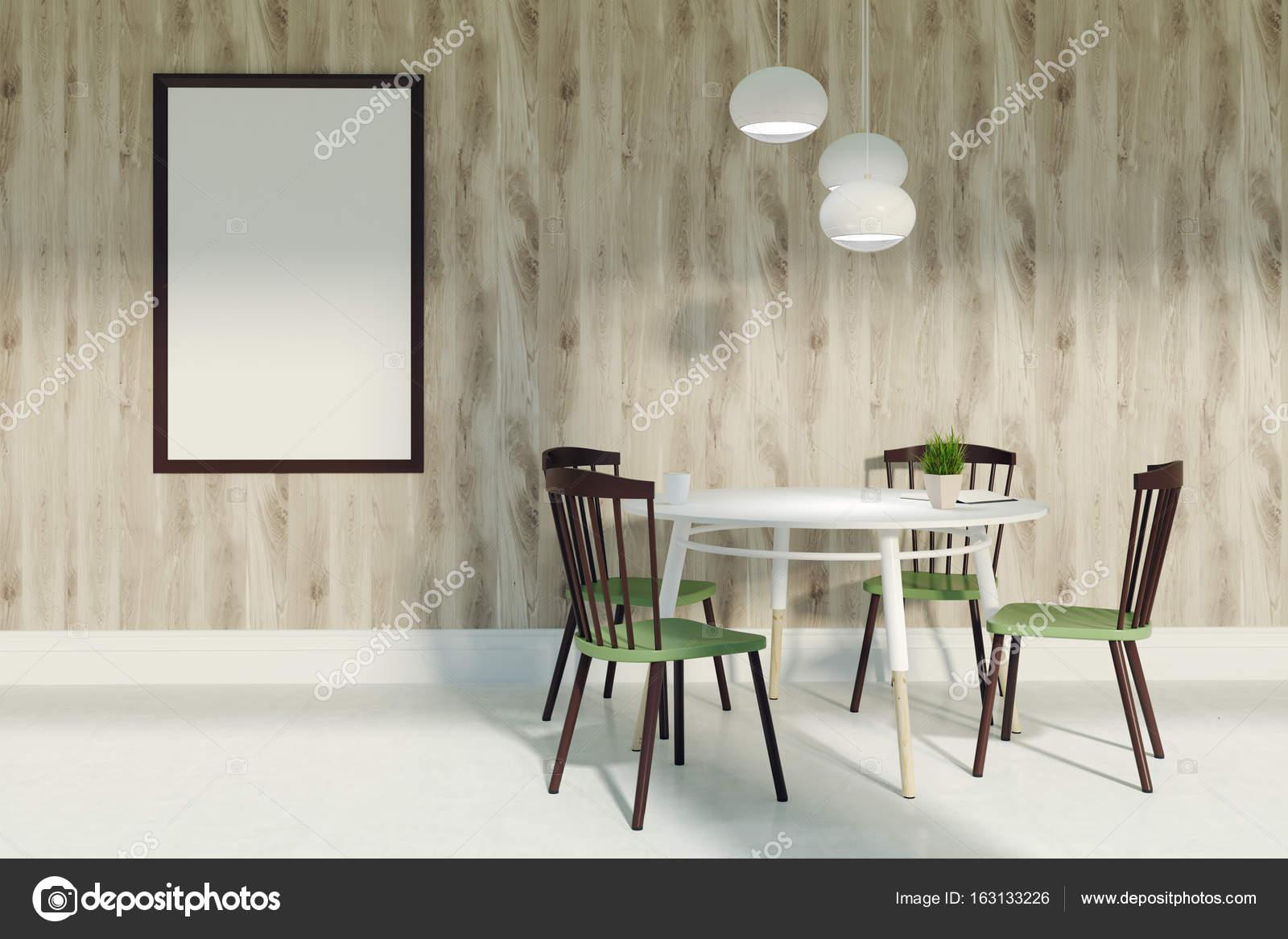 Esszimmer mit grünen und braunen Stühlen und poster — Stockfoto ...