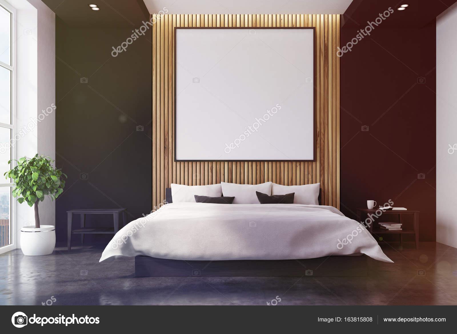 Posters Per Camera Da Letto : Interno di camera da letto nera e in legno poster tonica u foto