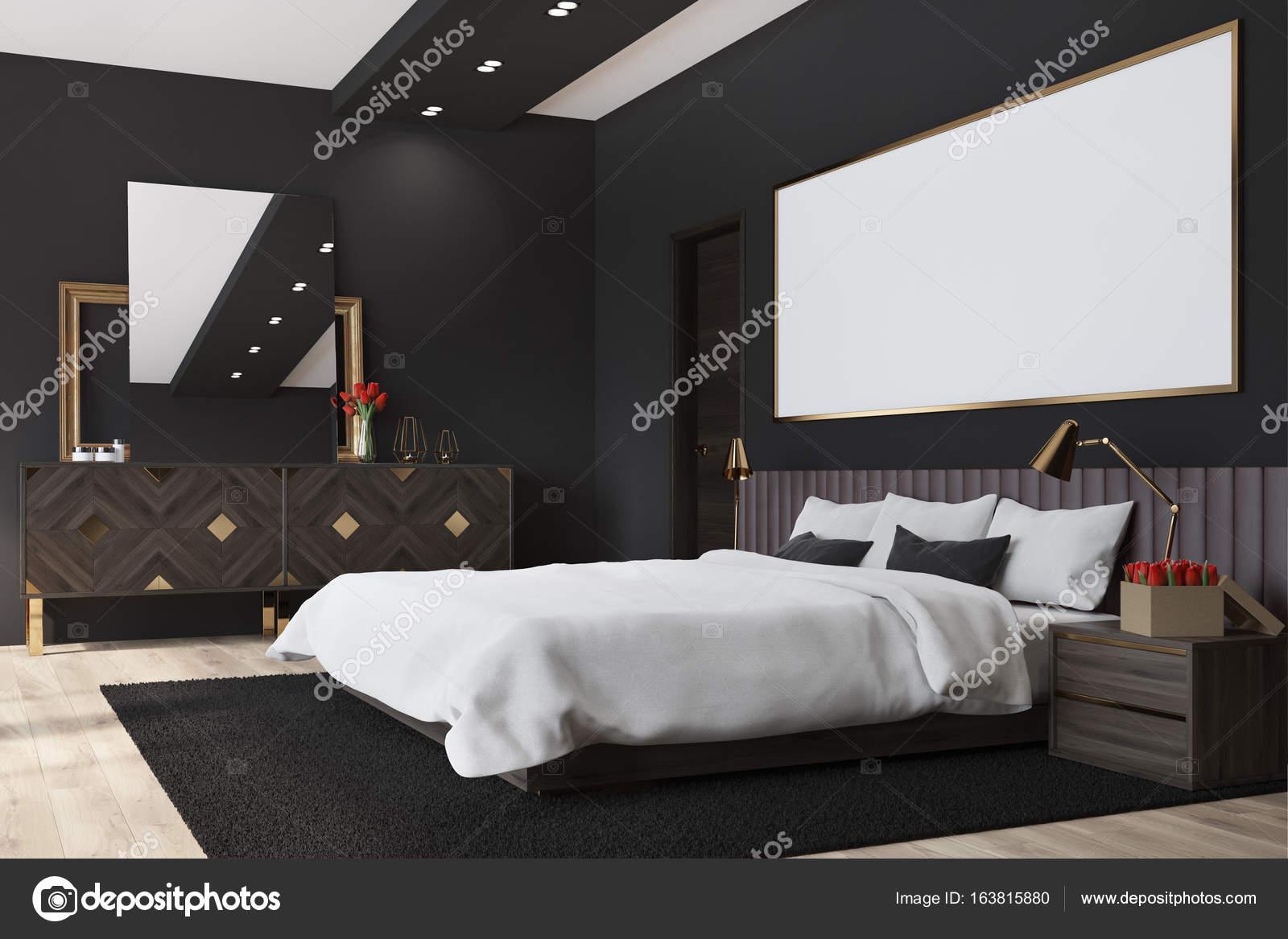 Camera da letto nera con un poster, angolo — Foto Stock ...