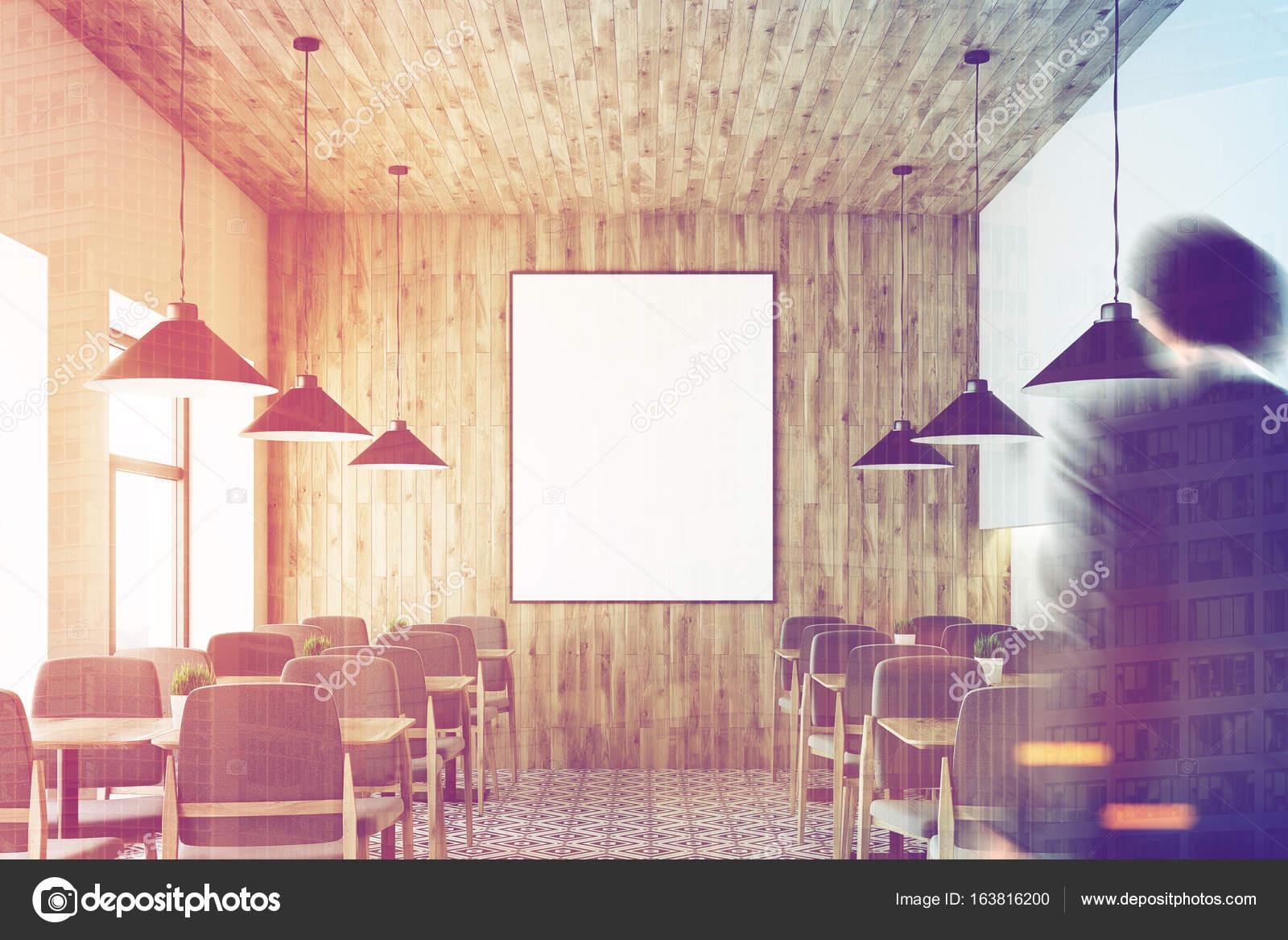 Soffitti In Legno Bianco : Bianco café soffitto in legno poster persone u2014 foto stock