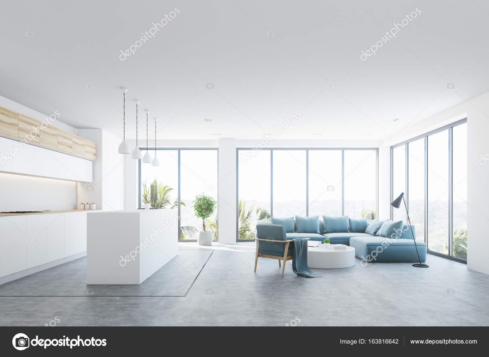 Interior Da Sala Branca Com Uma Barra Azul Fotografias De Stock  -> Sala De Estar Pequena Azul