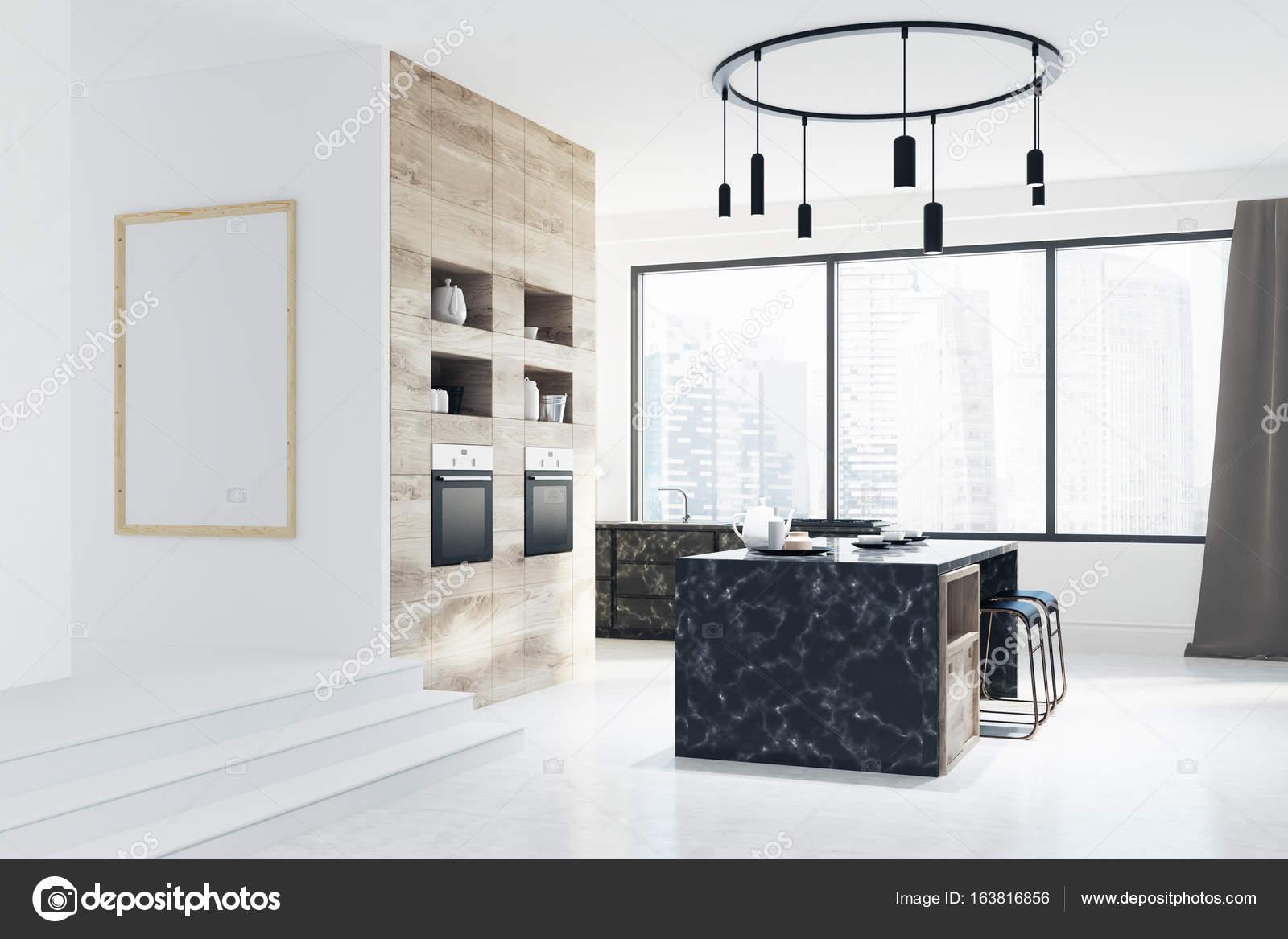 Blanco y barra de mármol de la cocina, la ciudad — Fotos de Stock ...