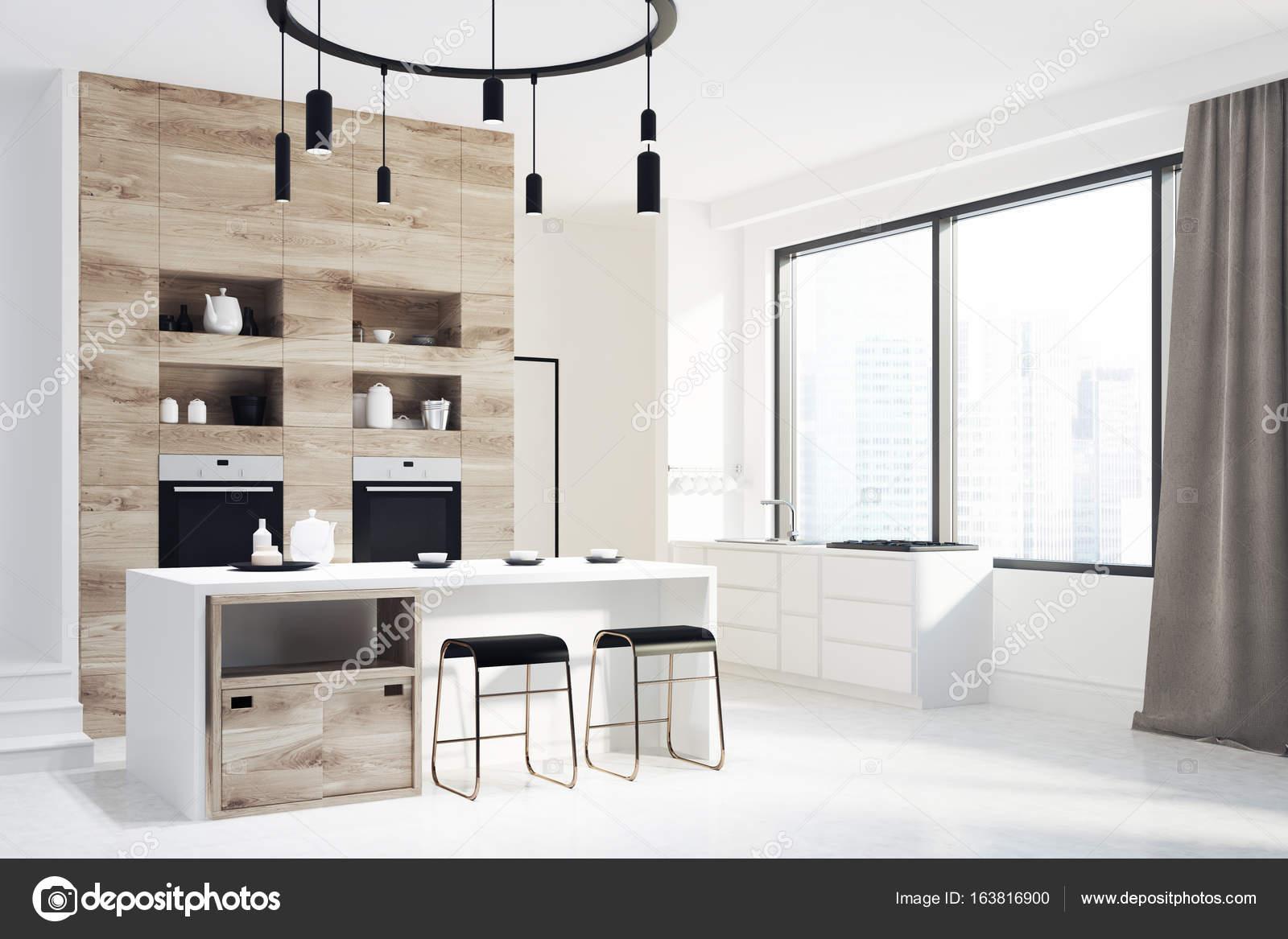 Moderne Weiße Und Hölzerne Küche, Bar U2014 Stockfoto