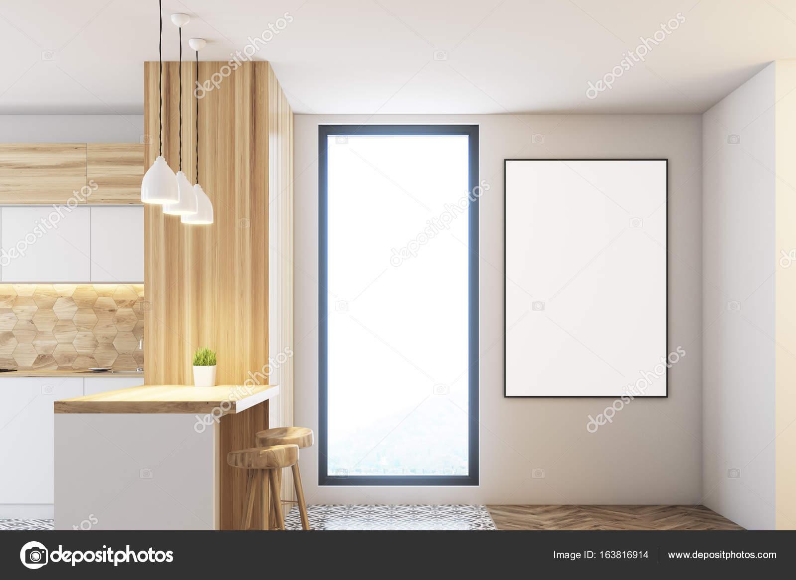 Bar cucina bianca e in legno finestra u foto stock