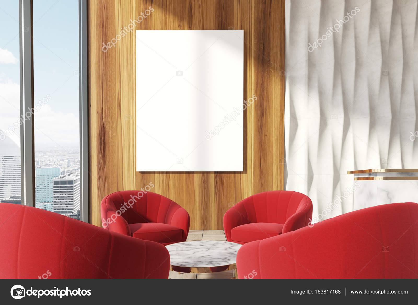 Rode Stoelen Fauteuils.Office Wachtruimte Met Rode Fauteuils Poster Stockfoto