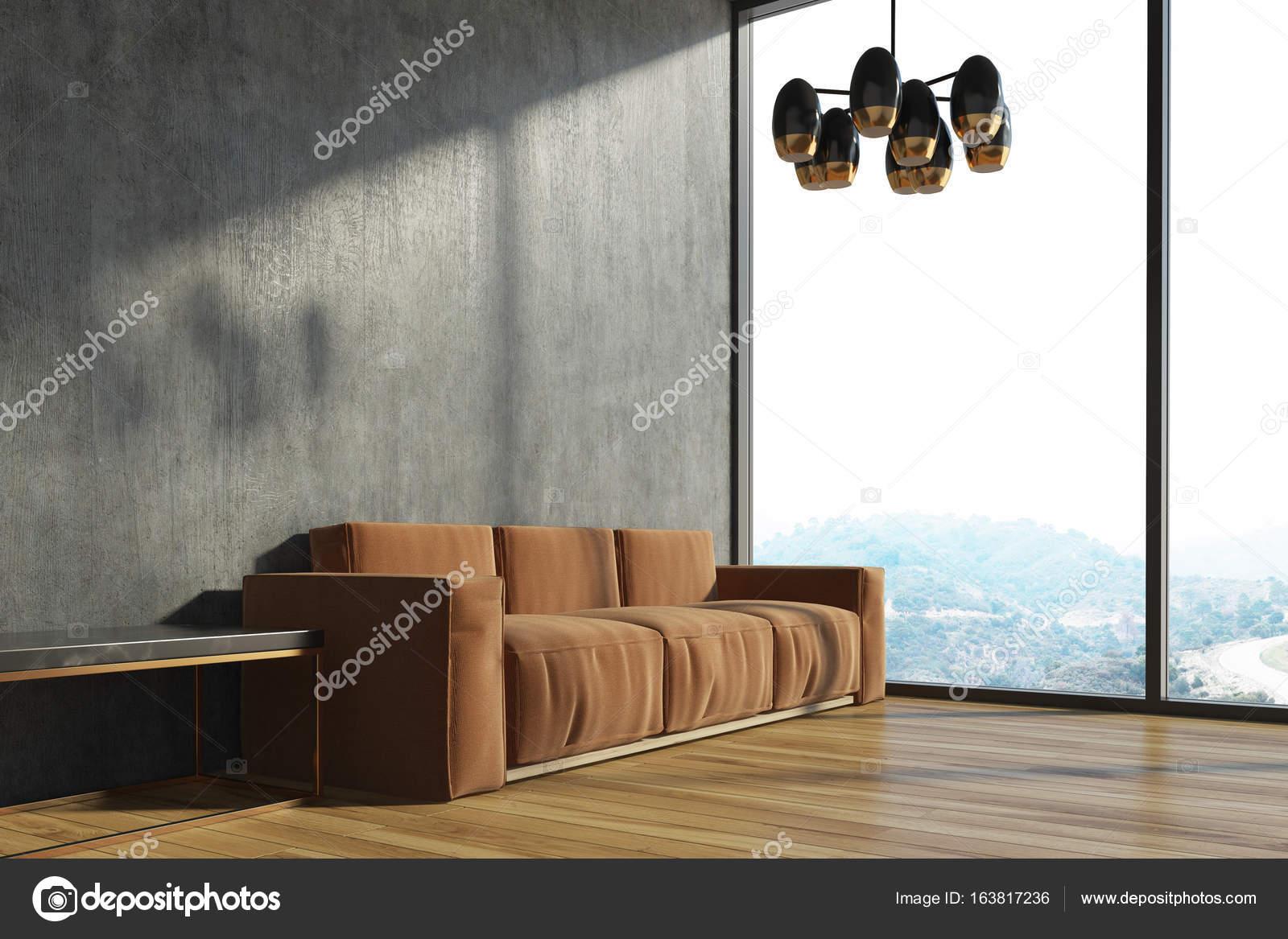 Sof De Sala Concreto Marrom Stock Photo Denisismagilov 163817236 -> Sala Cinza Com Sofa Marrom