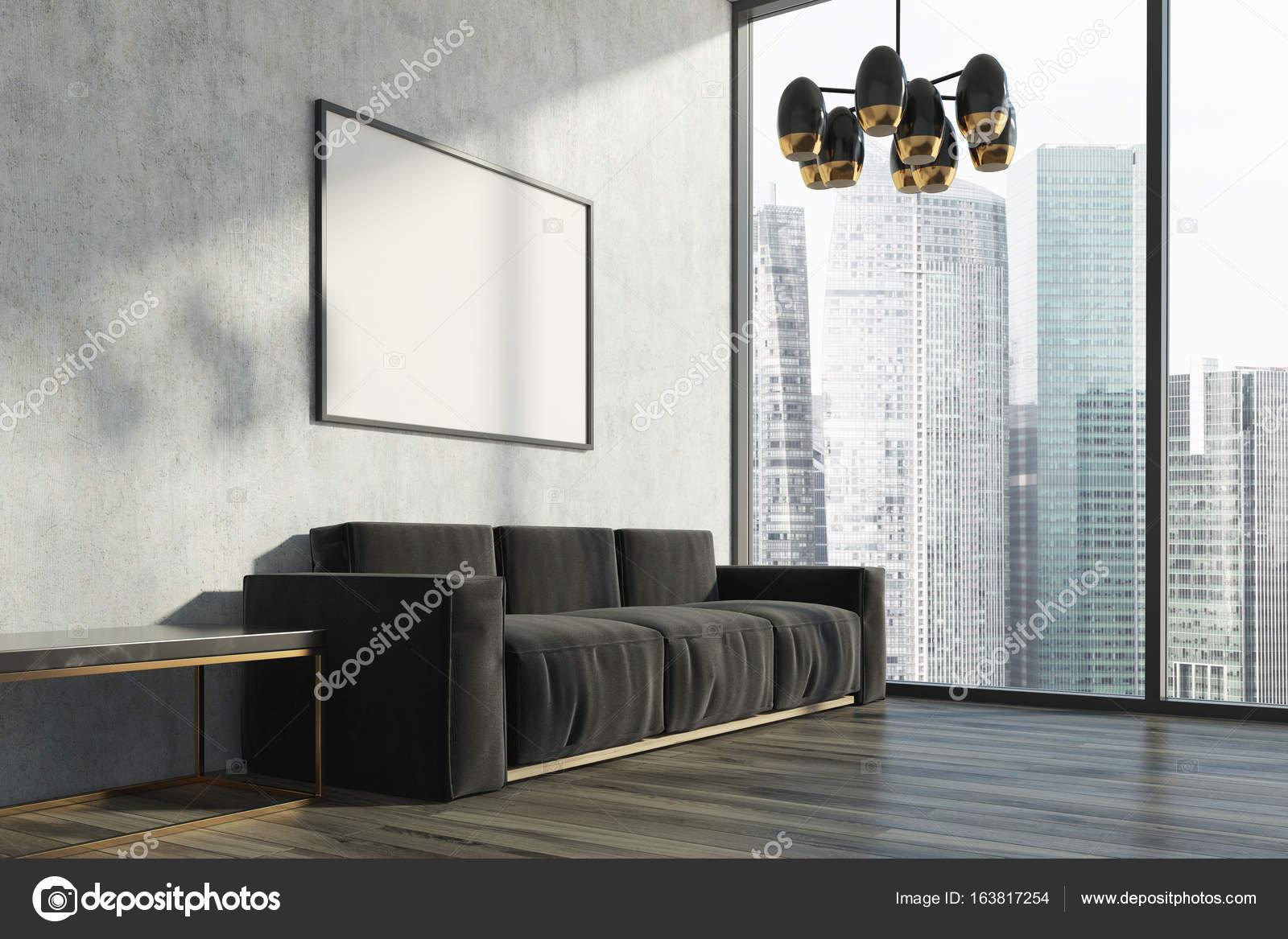 Beton wohnzimmer schwarzen sofa poster u2014 stockfoto