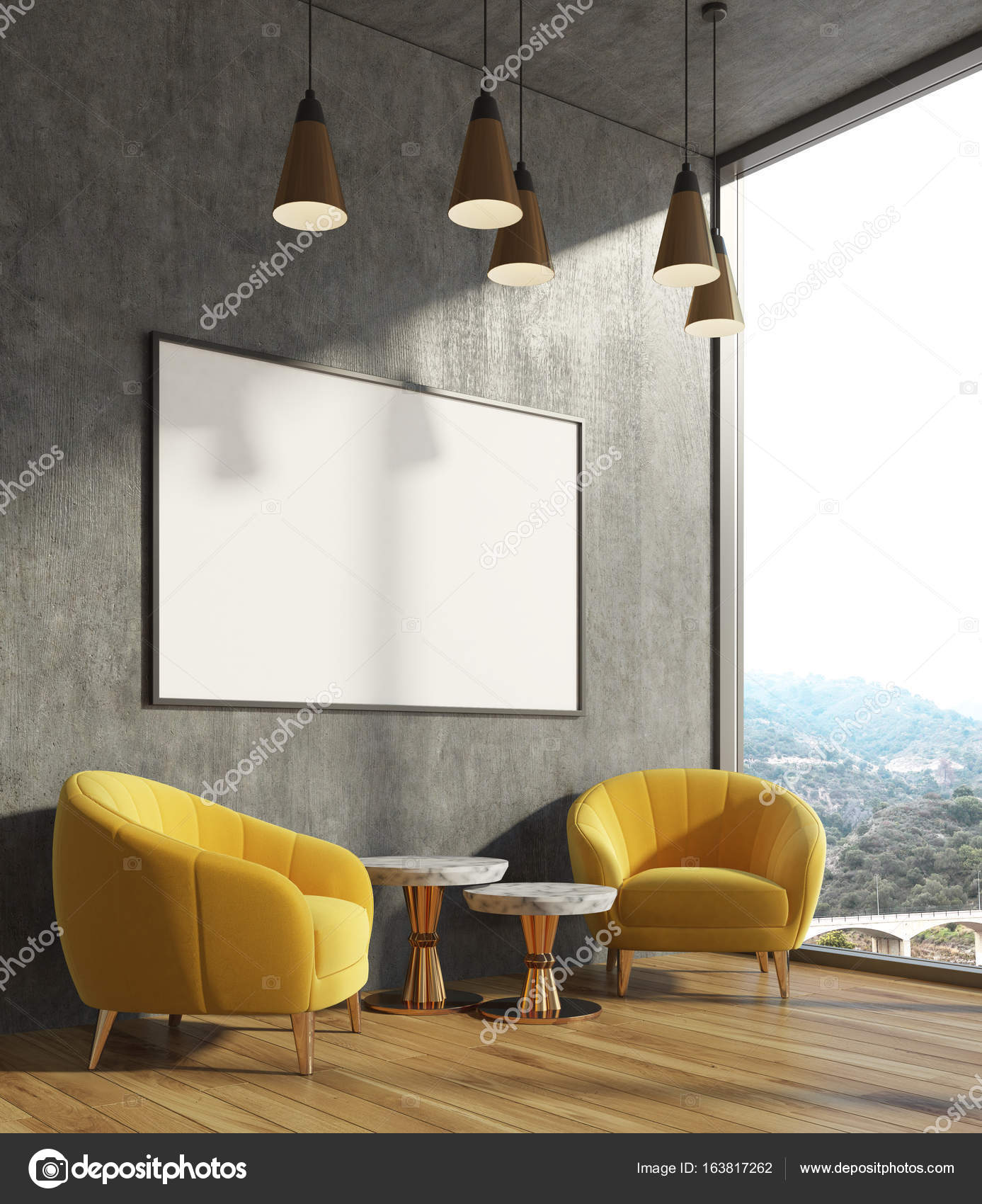 Concrete living room, yellow armchairs, poster — Stock Photo ...