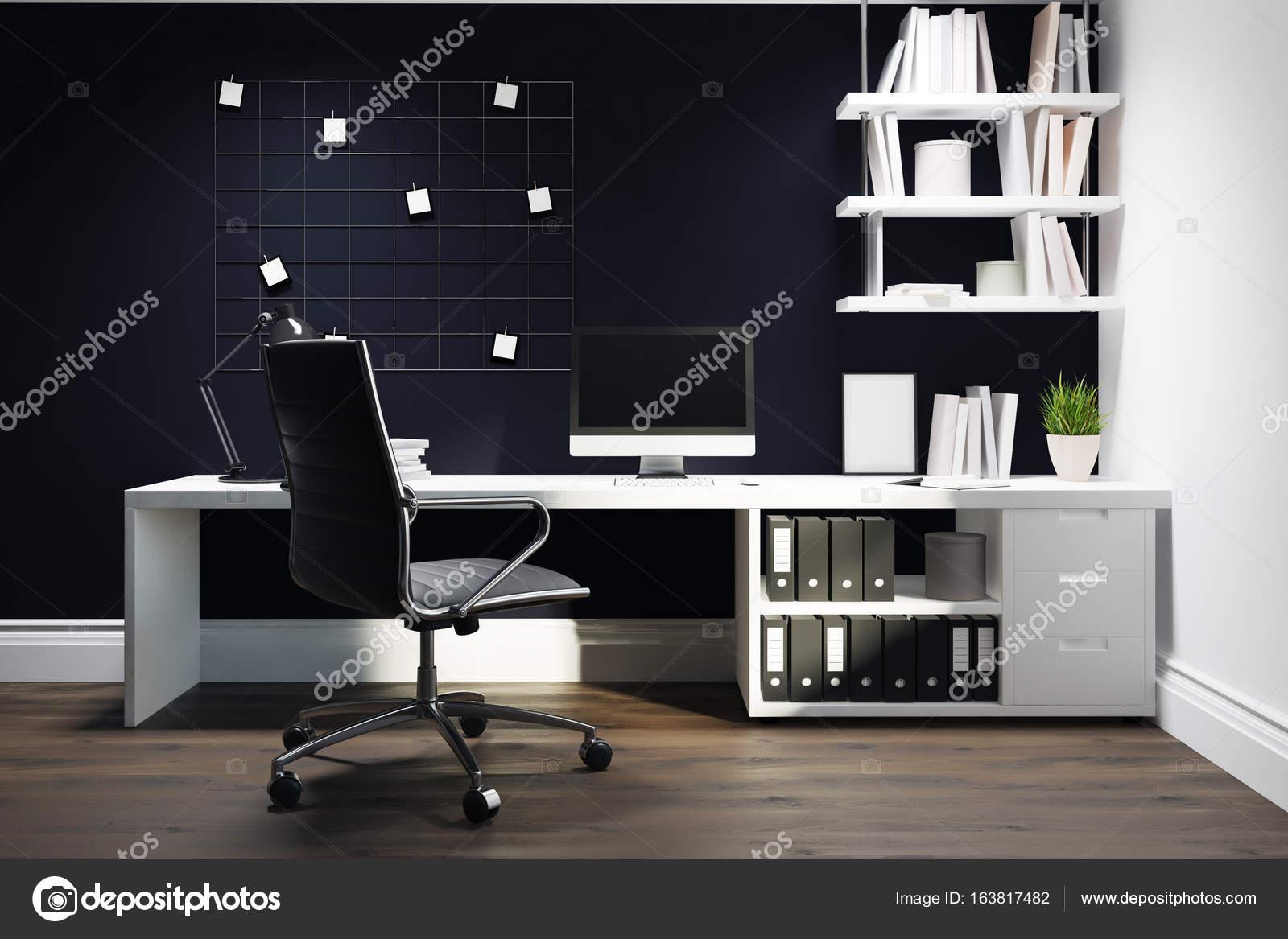 Chaise de bureau à domicile noir mur noir u photographie
