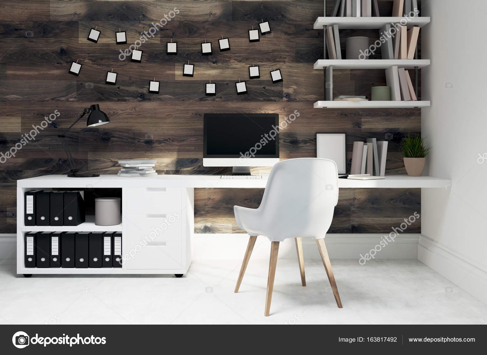 Chaise de bureau maison en bois foncé blanc u photographie