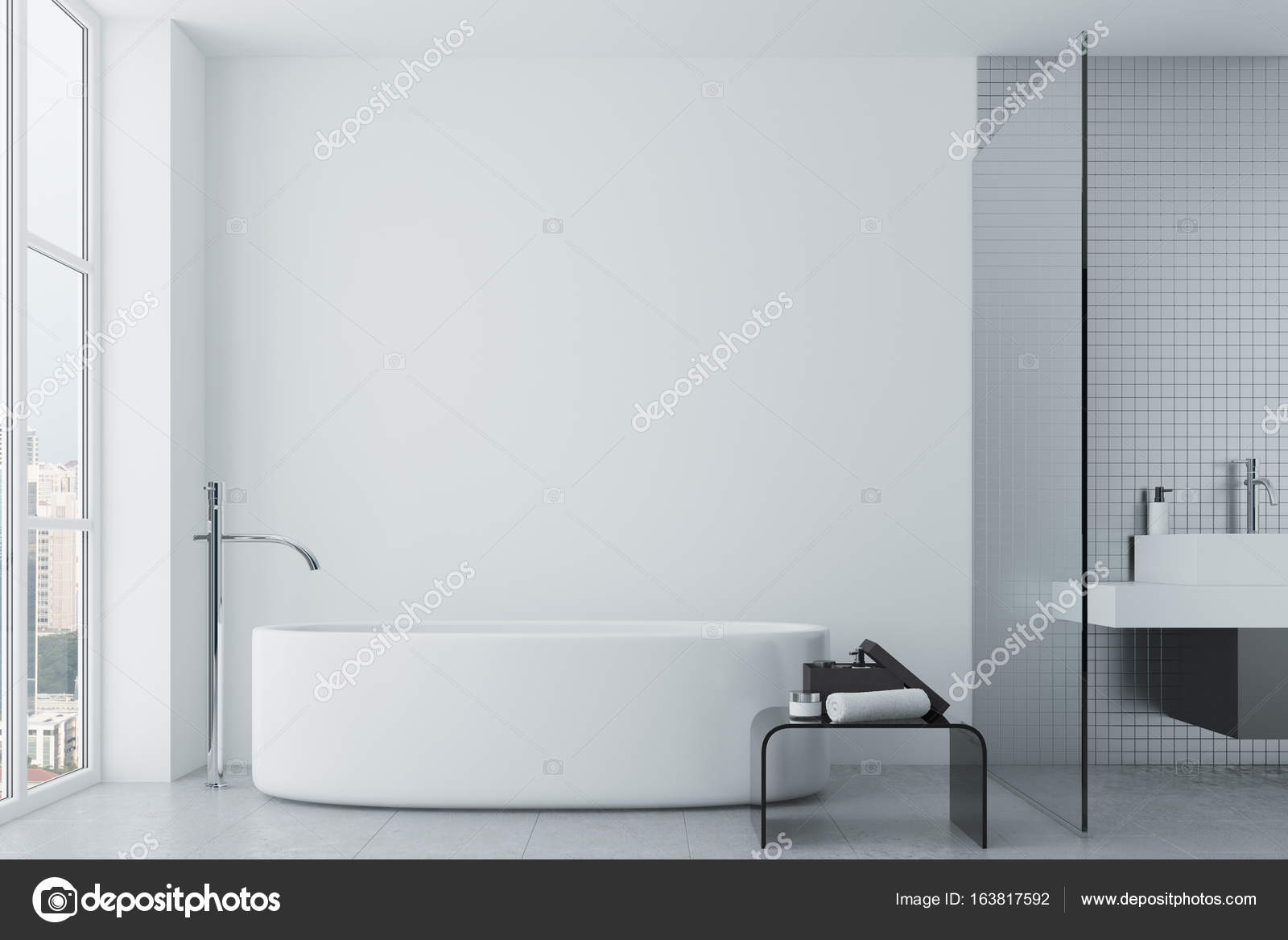 Witte Badkamer Wandtegels : Witte badkamer tegels en ronde kuip u stockfoto denisismagilov