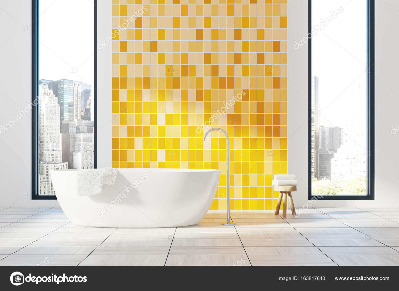 Gele badkamer interieur, Bad — Stockfoto © denisismagilov #163817640