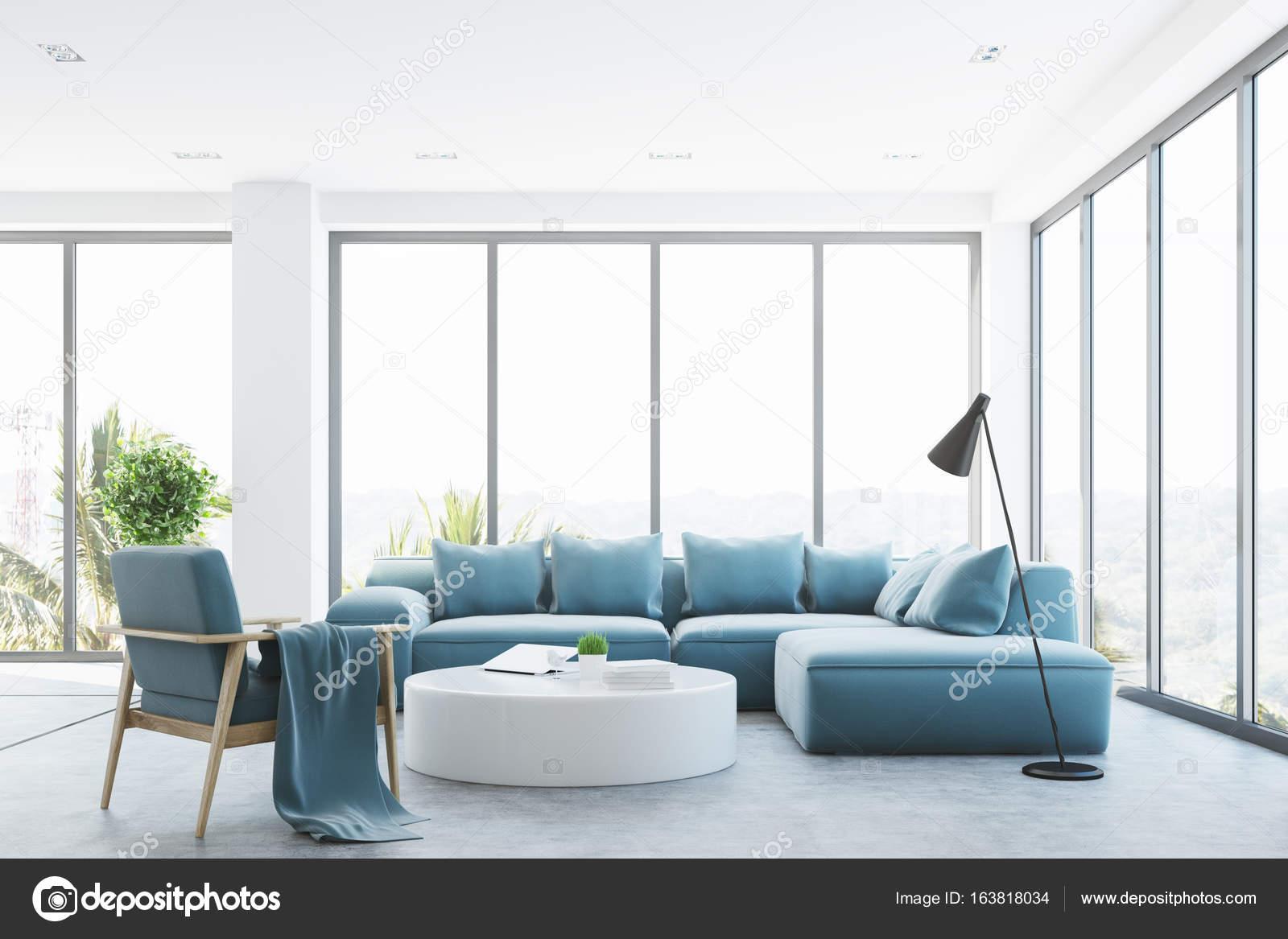 Interior Branco Sala De Estar Com Um Sof Azul Stock Photo  -> Sala De Estar Pequena Azul
